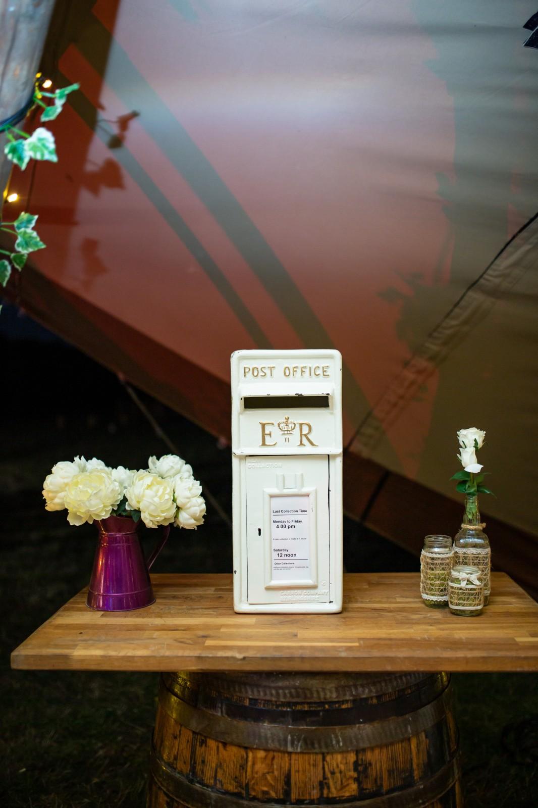 wedding white post box
