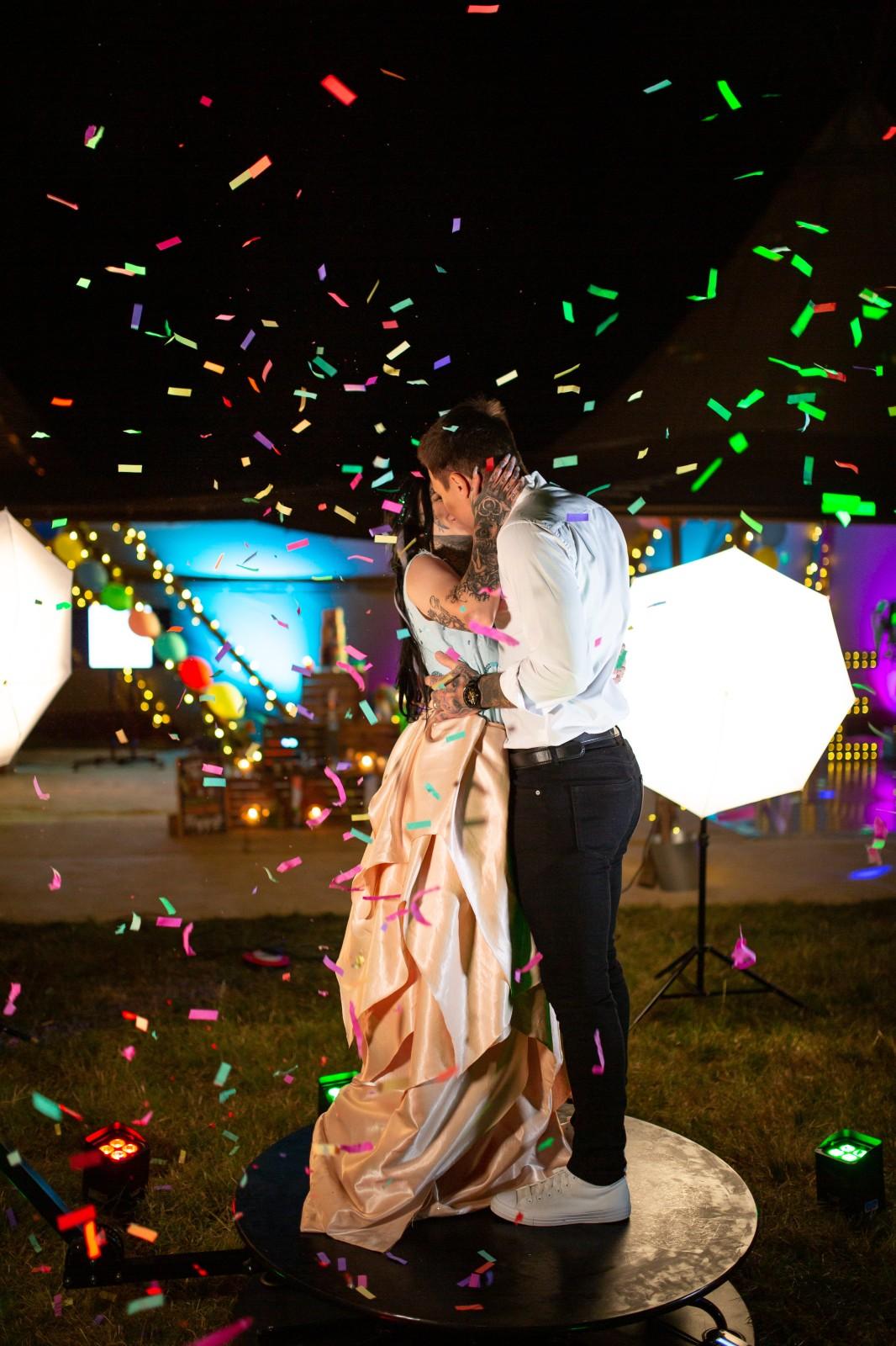 rainbow festival wedding - wedding confetti shot