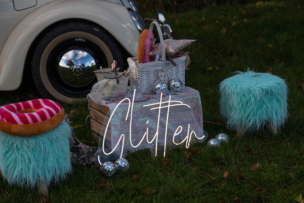 glitter wedding - festival bridal looks - fun festival wedding - alternative bridal wear - wedding photobooth props