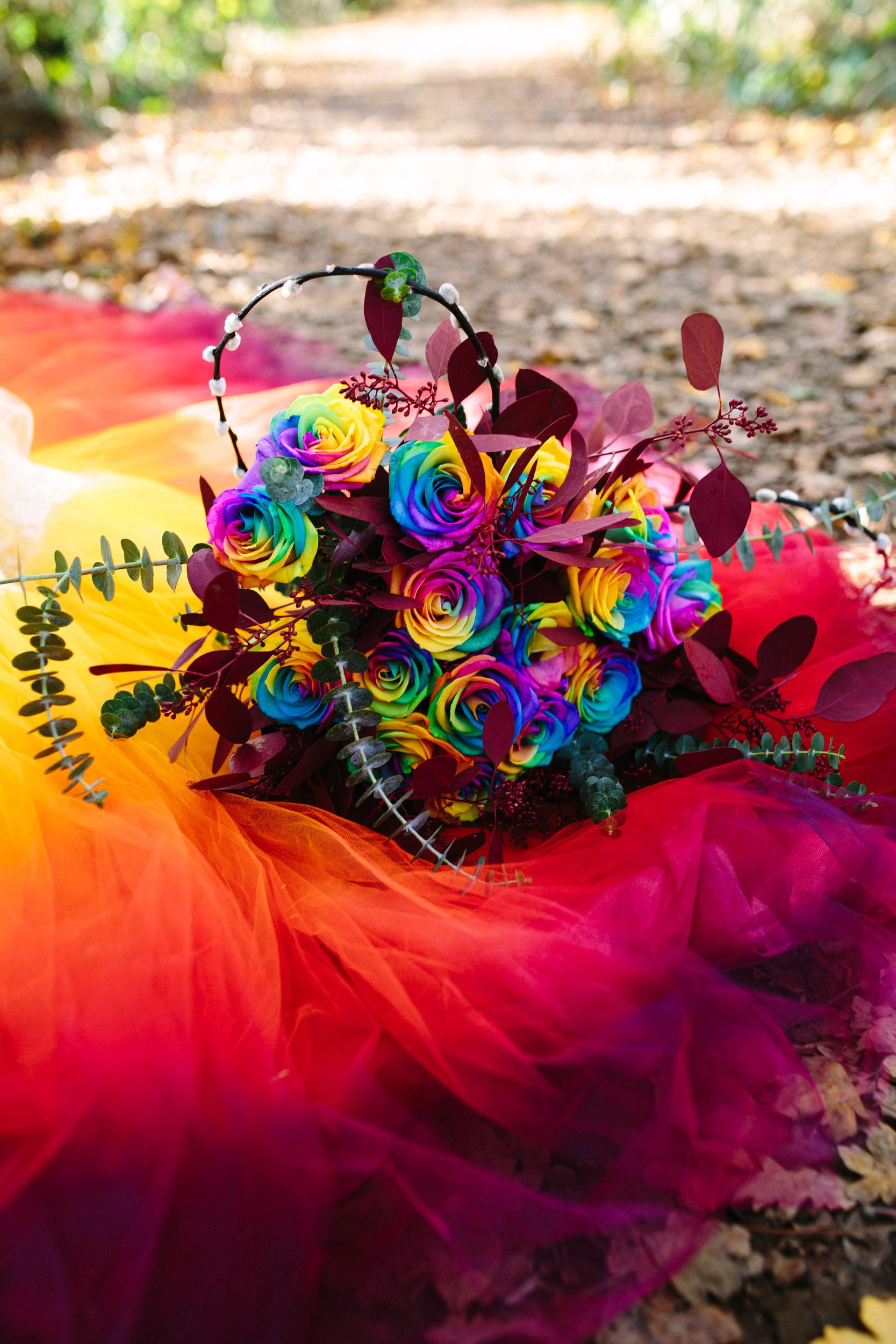 rainbow roses - rainbow wedding bouquet - rainbow wedding flowers - alternative wedding flowers