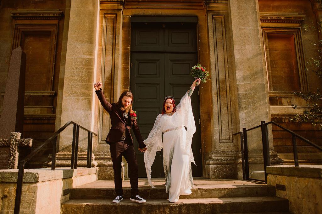 alternative micro wedding - pandemic wedding - small wedding - bohemian wedding dress - flared sleeve wedding dress