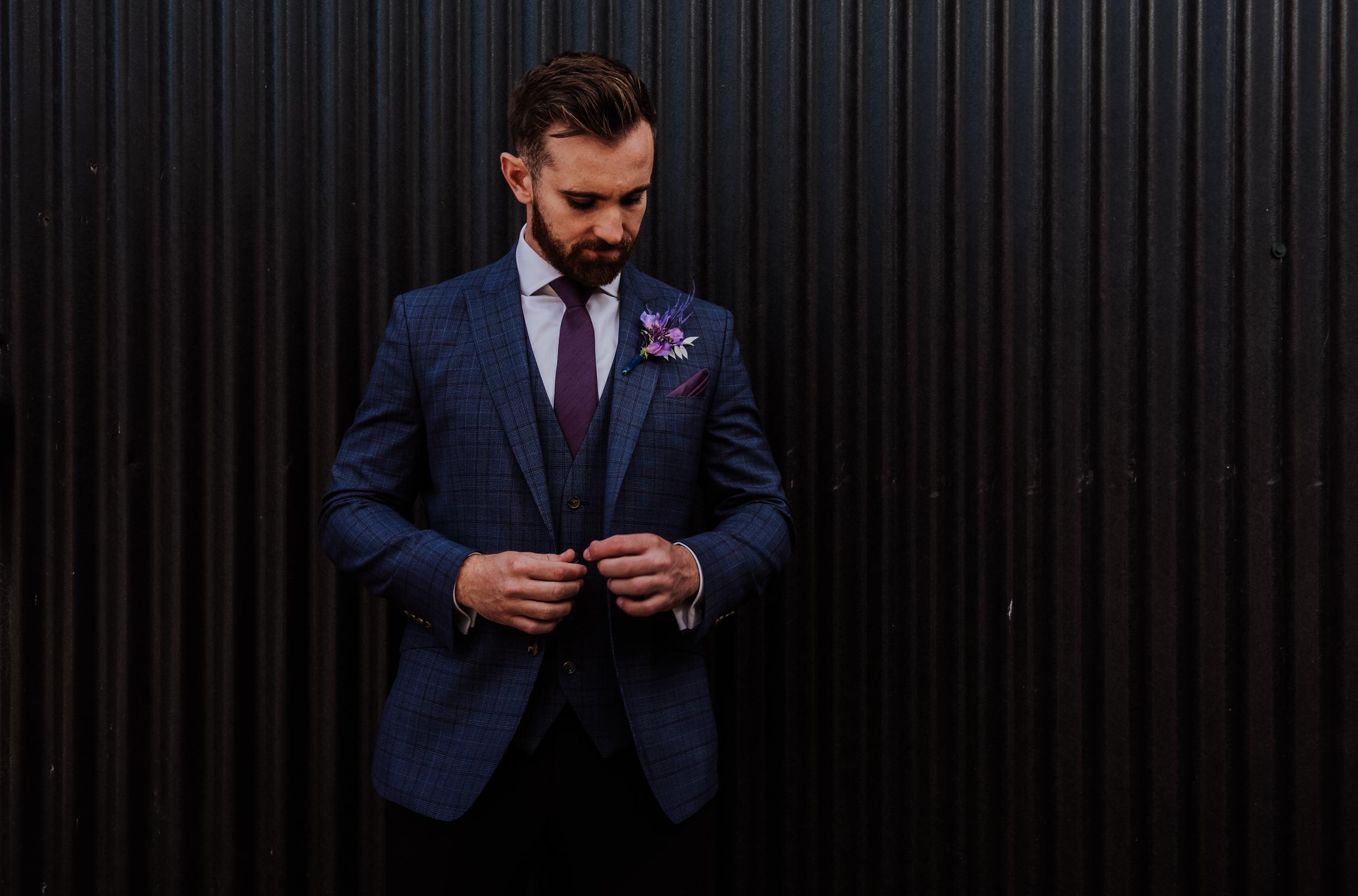 mens blue and purple tweed suit - purple buttonhole - unique grooms wear