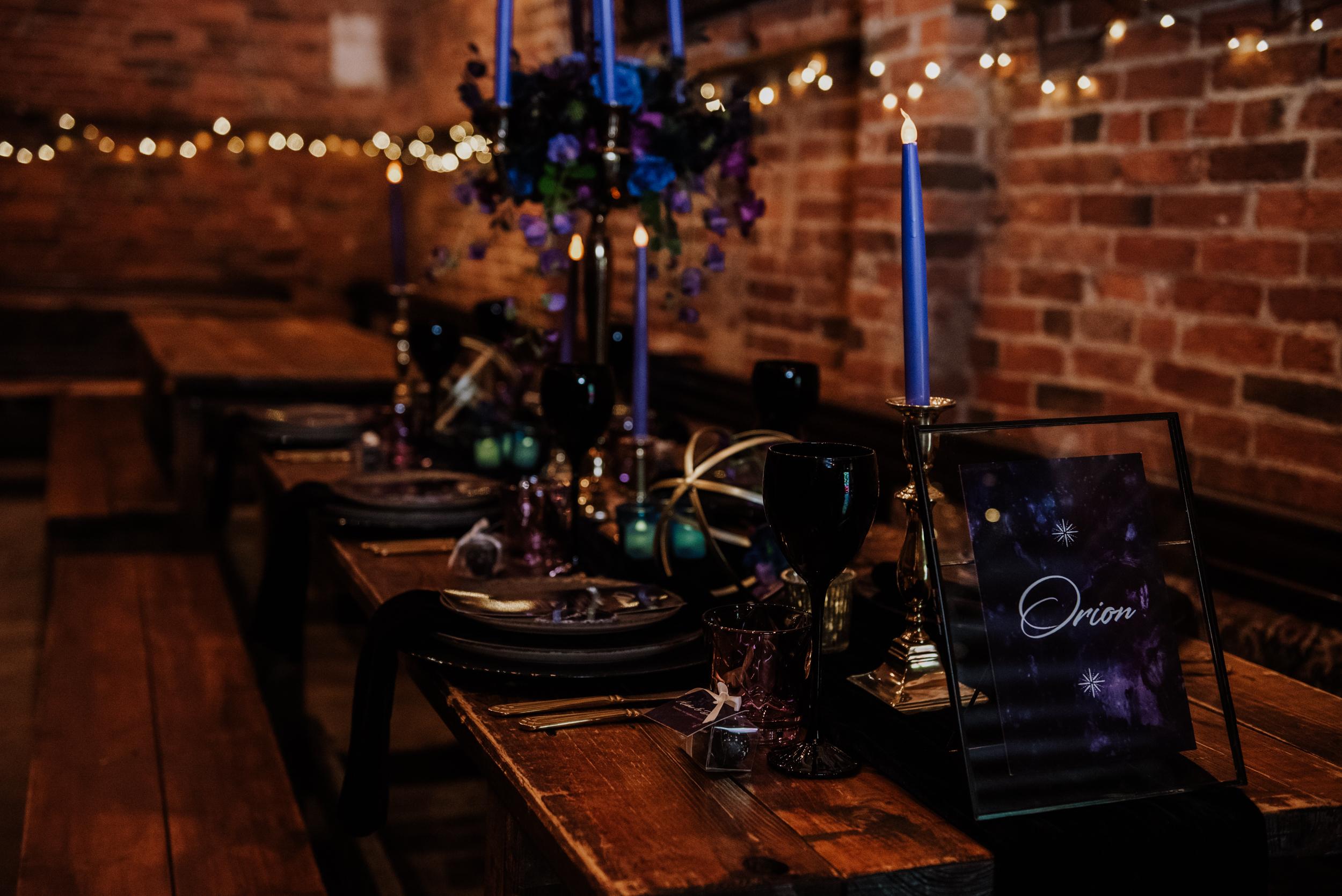 luxury galaxy wedding - galaxy wedding table styling