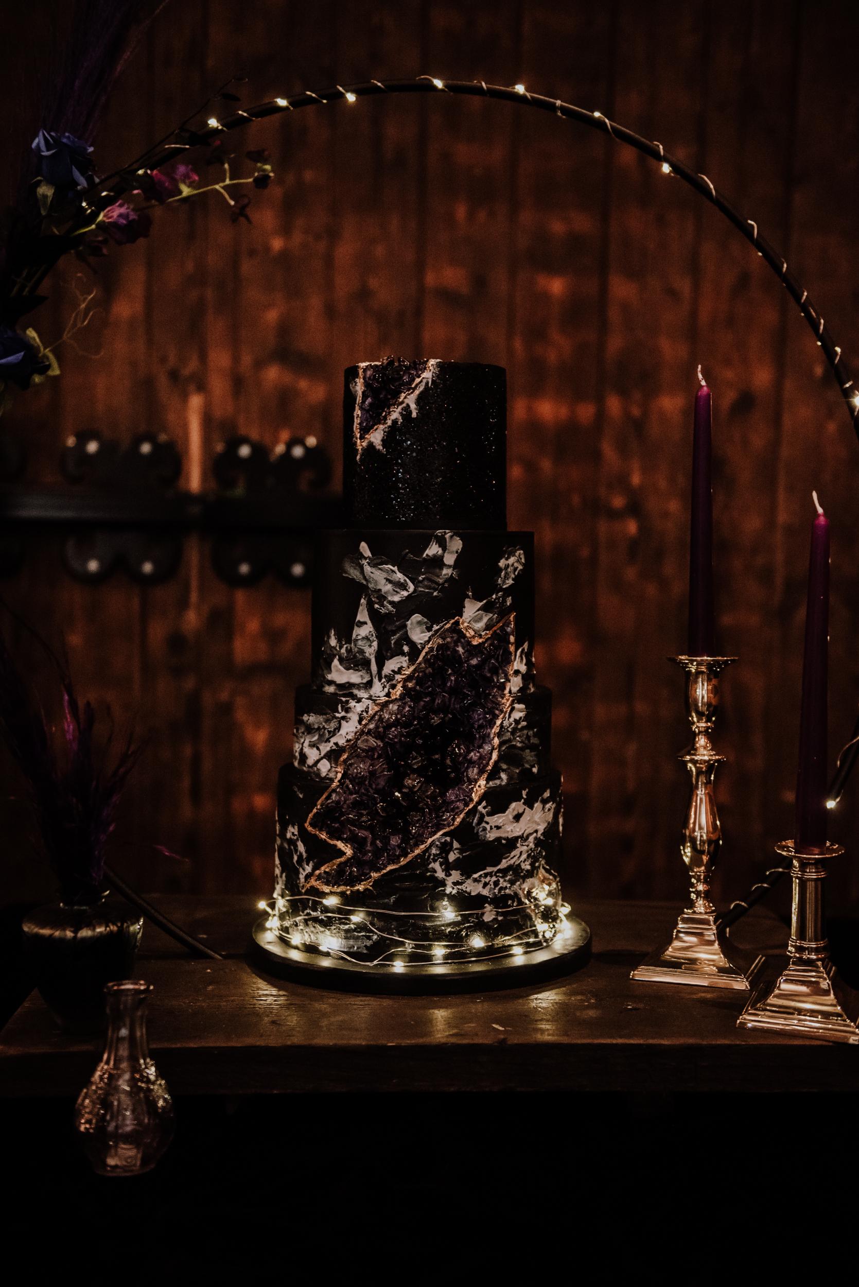 spectacular black wedding cake - crystal wedding cake - luxury wedding cake - galaxy wedding cake