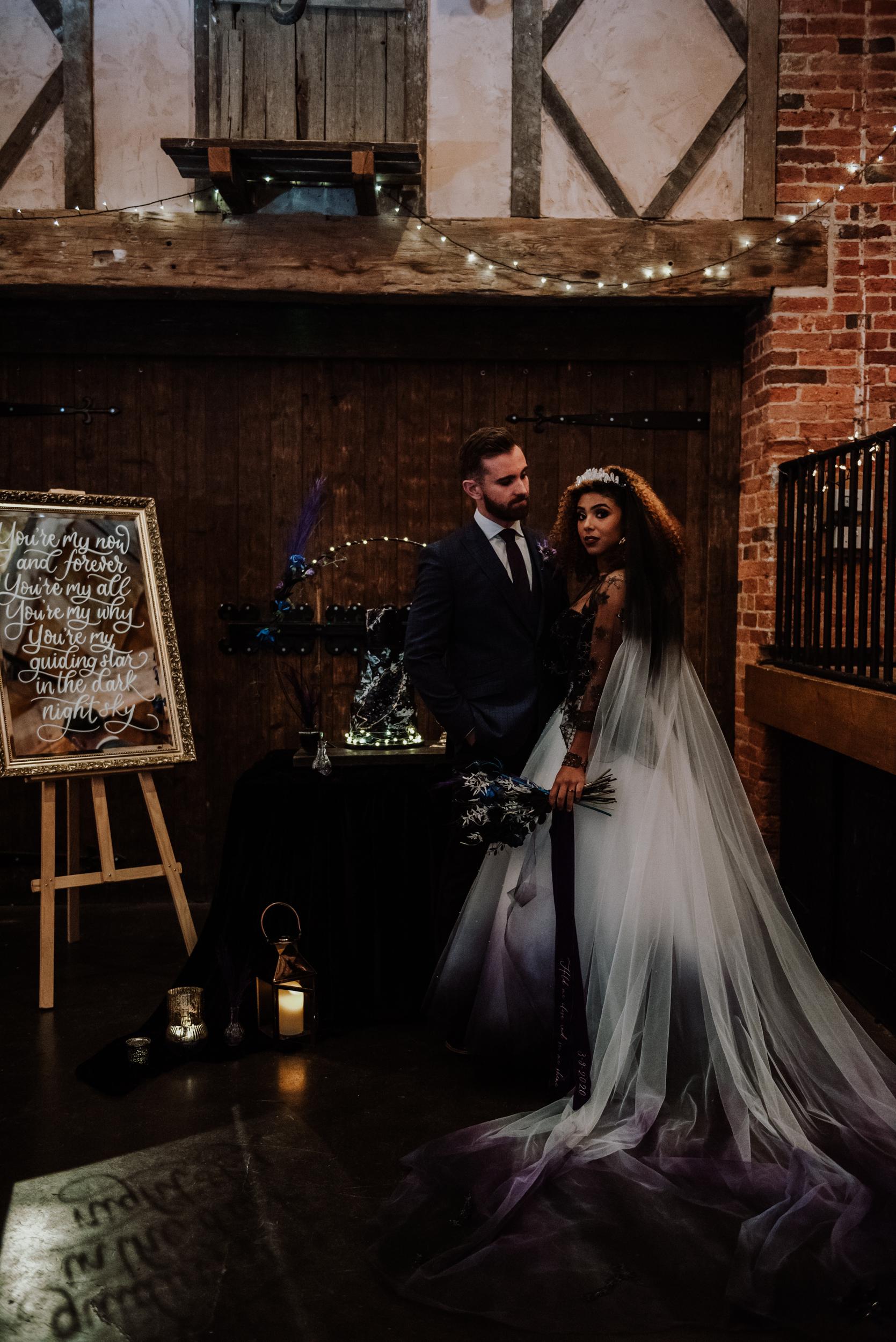luxury galaxy wedding - alternative wedding - ombre wedding dress - edgy wedding ideas - celestial wedding