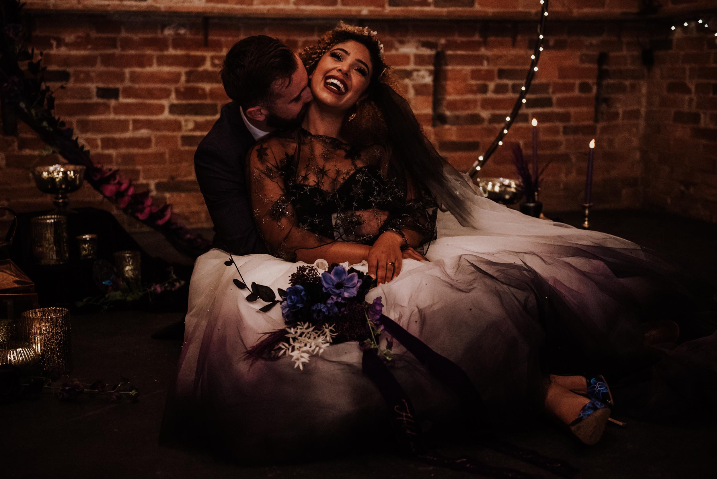 luxury galaxy wedding - alternative wedding dress - bespoke wedding dress - ombre wedding dress - gothic wedding dress - purple wedding flowers