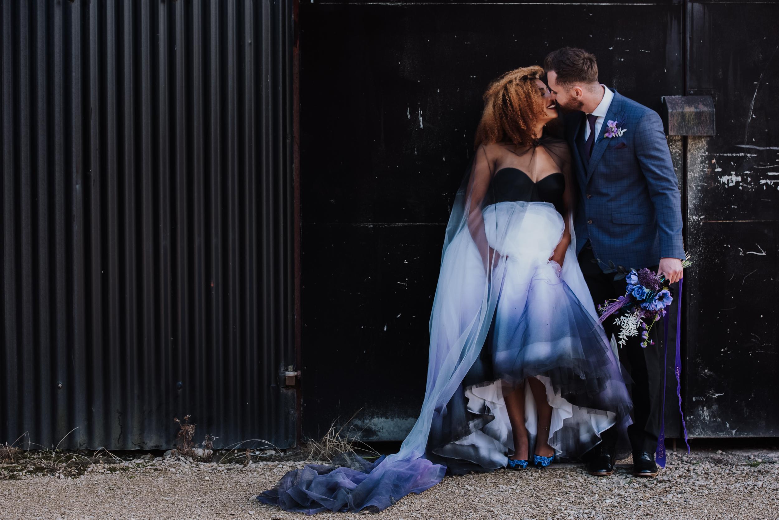 luxury galaxy wedding - black and white wedding dress - dip dye wedding dress - ombre wedding dress - galaxy wedding dress - celestial wedding dress - ombre wedding veil - alternative bridal wear - alternative wedding dress