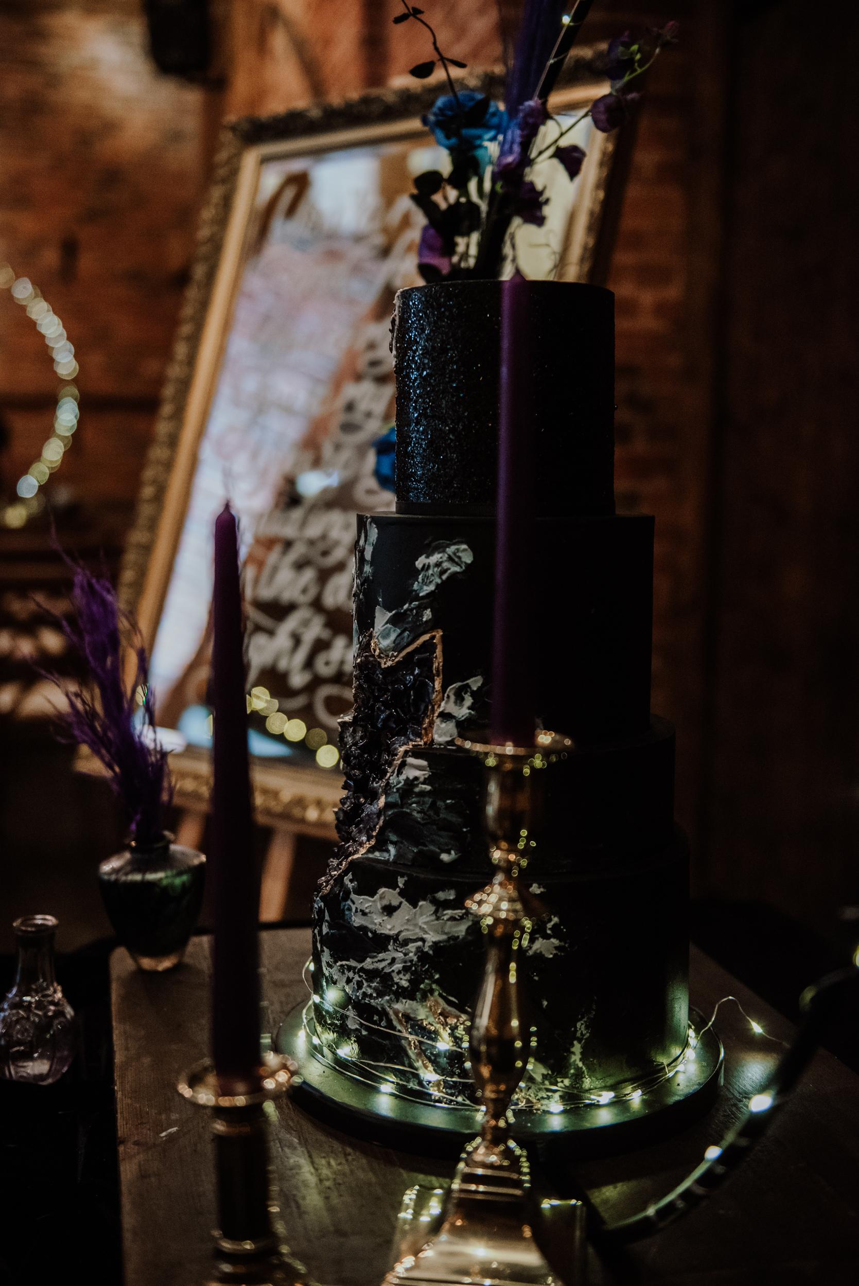 gothic wedding cake - luxury wedding cake - galaxy wedding cake