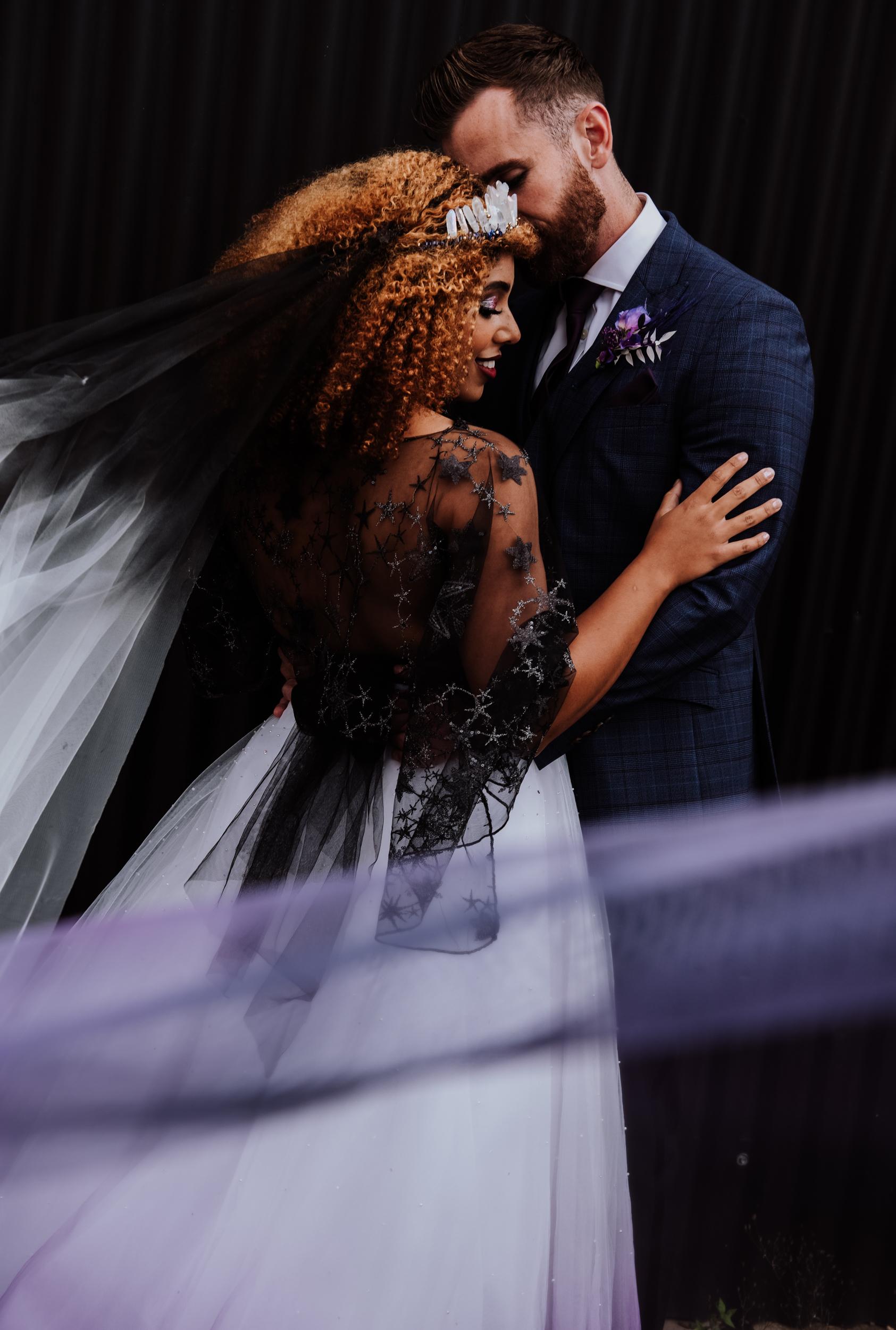 dip dye wedding dress - ombre wedding dress - galaxy wedding dress - celestial wedding dress - ombre wedding veil - alternative bridal wear - alternative wedding dress