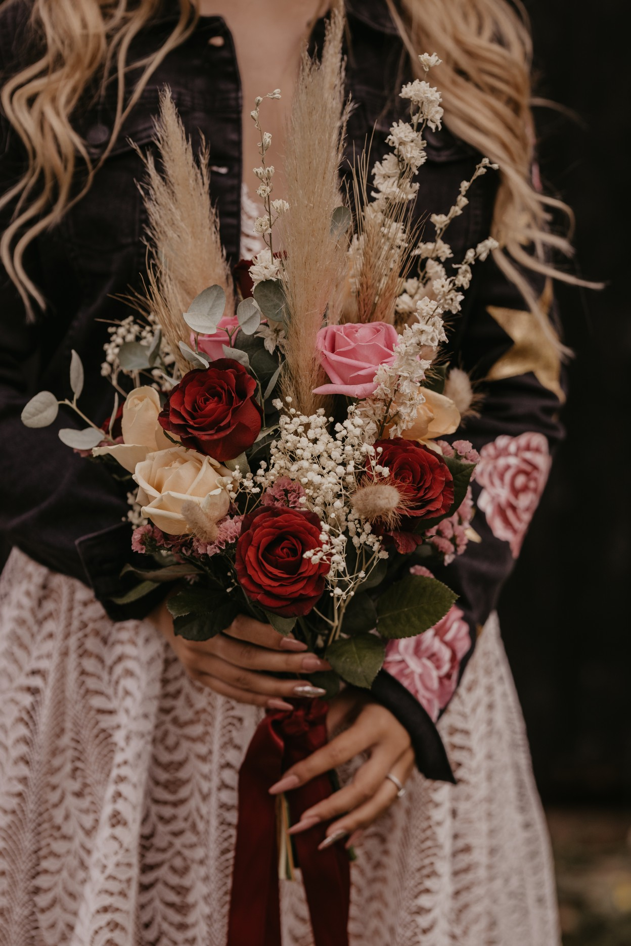 wedding bouquet of roses and dried stems - unique wedding bouquet