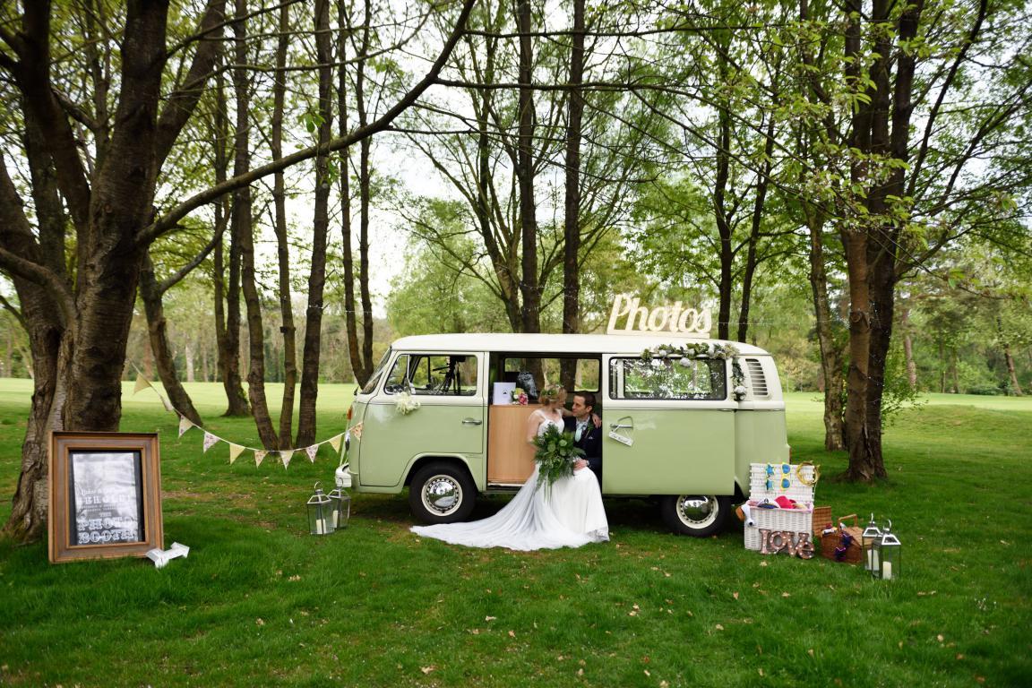 wedding camper van - camper van photo booth - festival wedding ideas - buttercup bus - unconventional wedding