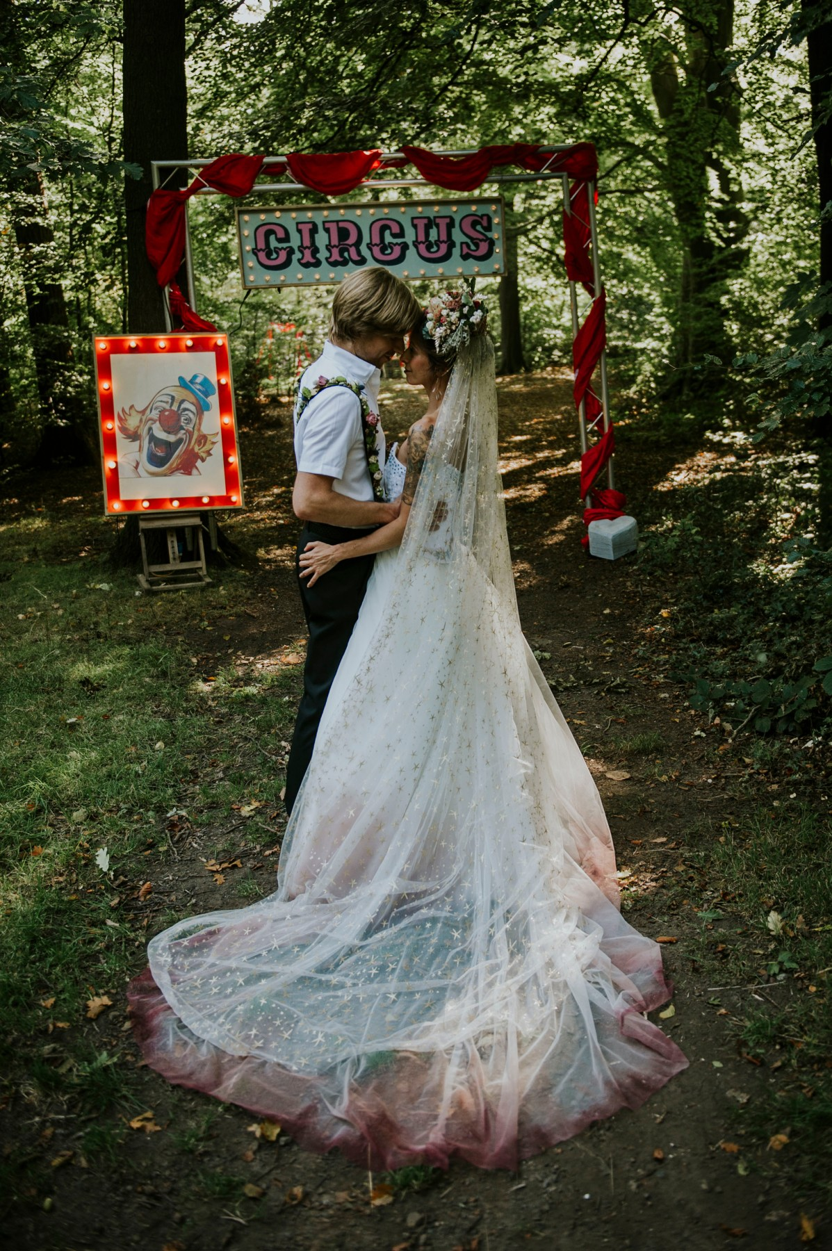 circus wedding - ombre wedding dress - unique bridal wear, circus wedding props