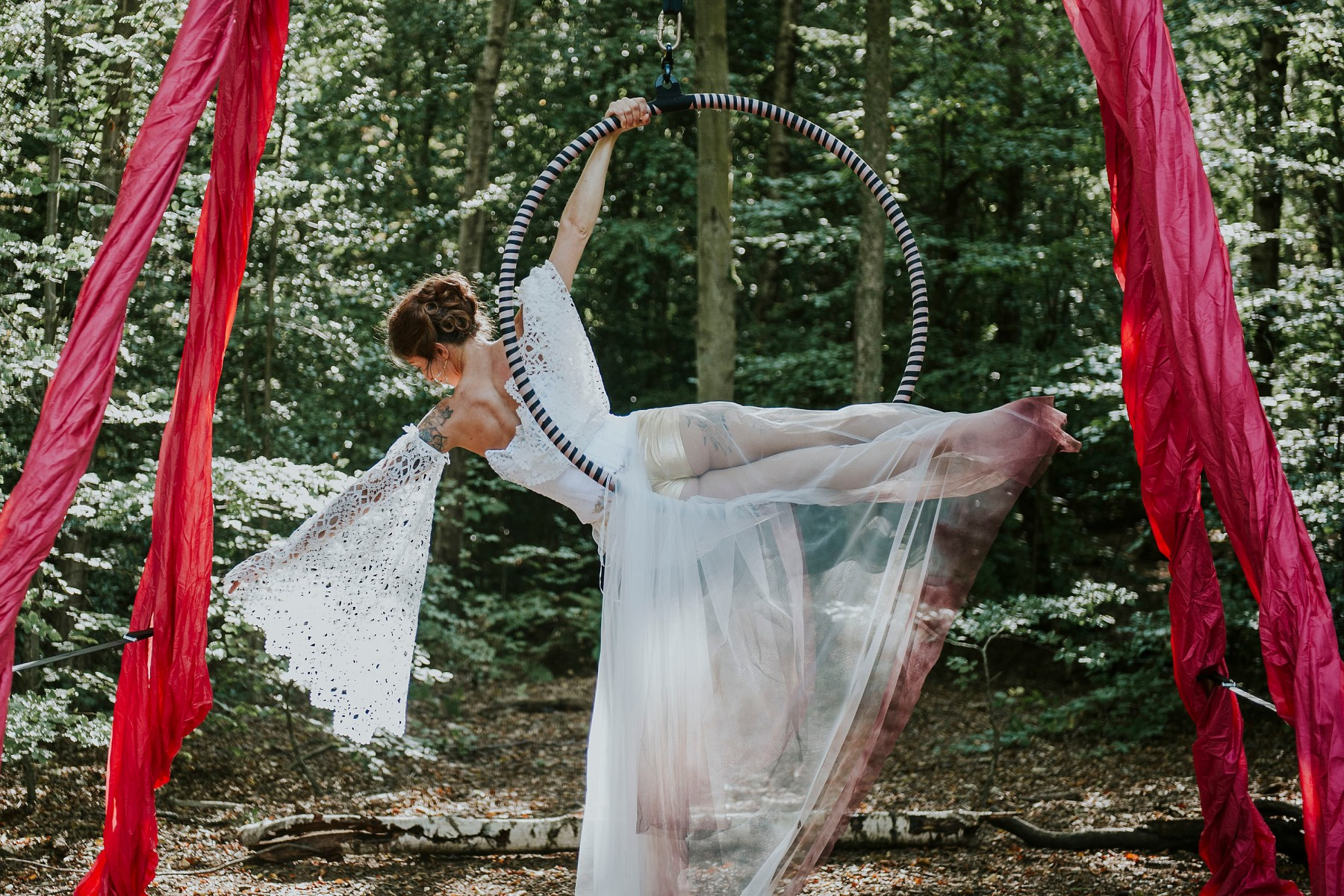 circus wedding - aerial performer bride - unique wedding dress