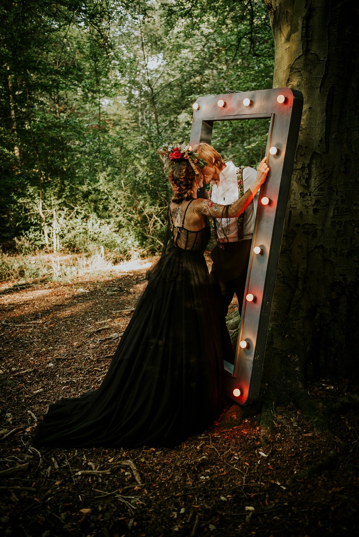 circus woodland wedding - ethereal wedding inspiration - black wedding dress - quirky wedding props