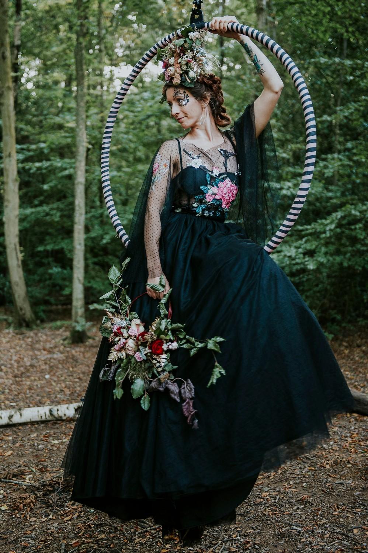 circus wedding - aerial performer bride - black wedding dress - alternative wedding dress - unique bridal wear
