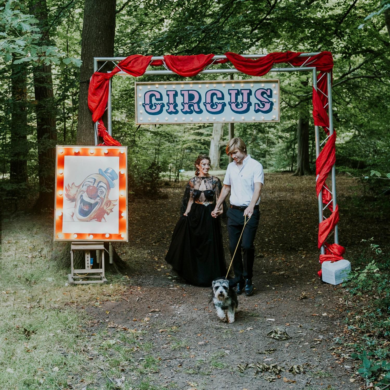 circus woodland wedding - circus wedding - fun wedding theme - circus wedding sign - black wedding dress