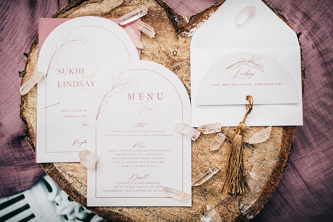 bohemian wedding invitations - boho luxe wedding - minimalist wedding stationery - pink and white wedding stationery