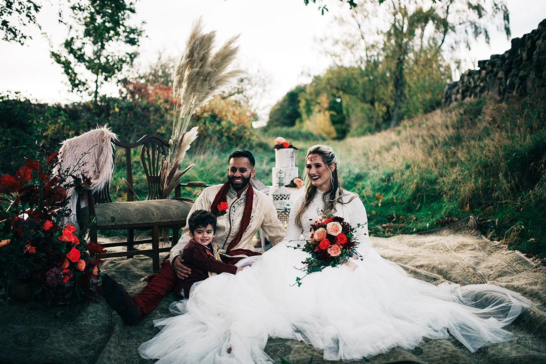 boho luxe wedding - multi cultural wedding - family wedding portrait - relaxed wedding photos