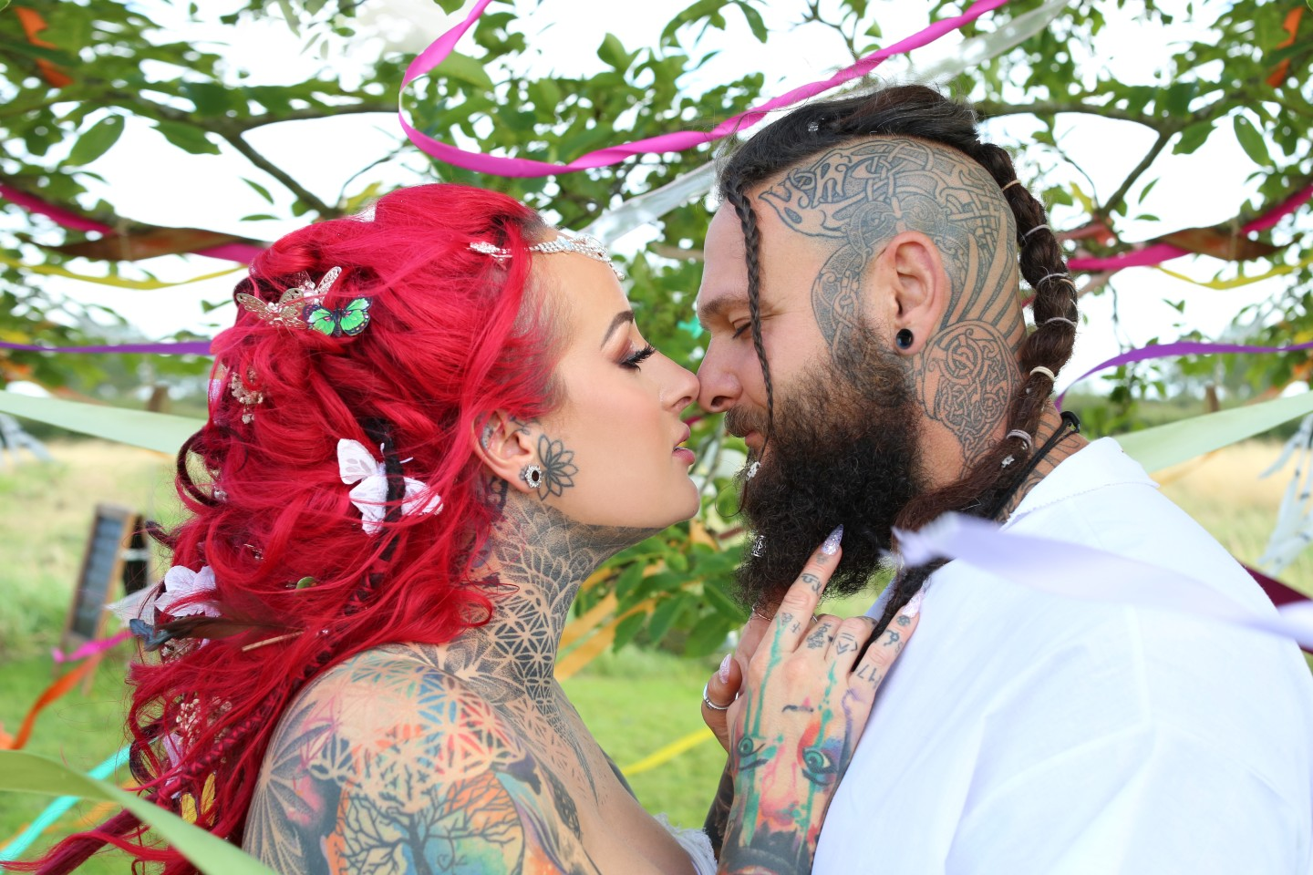 festival viking wedding - alternative wedding inspiration - unconventional wedding - alternative wedding blog - unique couple portrait