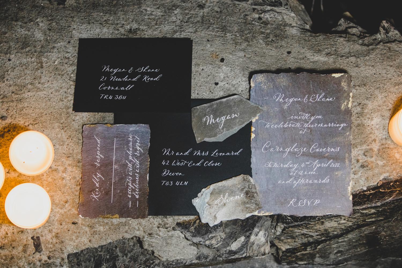 slate wedding stationery - unique wedding stationery - alternative wedding stationery set