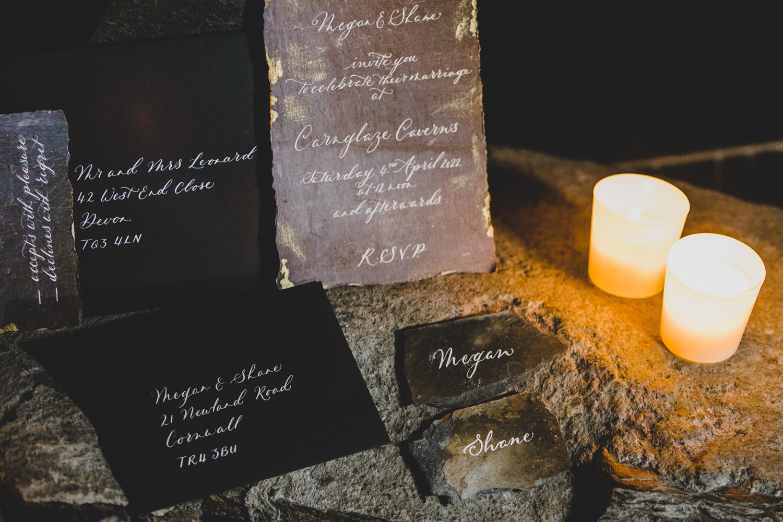 slate wedding stationery - unique wedding stationery - alternative wedding invitations