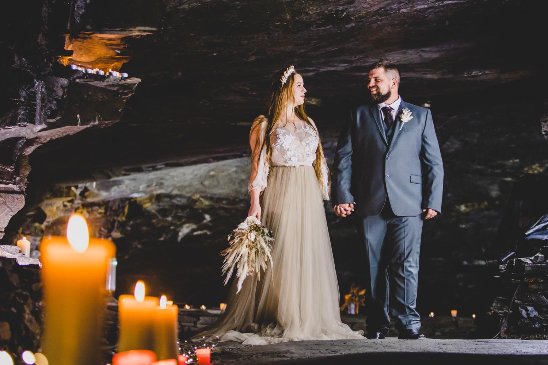 cave wedding - alternative wedding venue - unconventional wedding - candle lit wedding venue