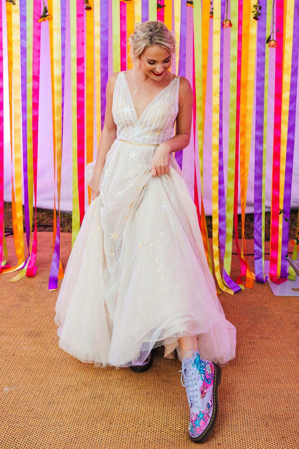 bright festival wedding - colourful wedding - hand painted bridal shoes - celestial wedding dress - alternative bridal wear