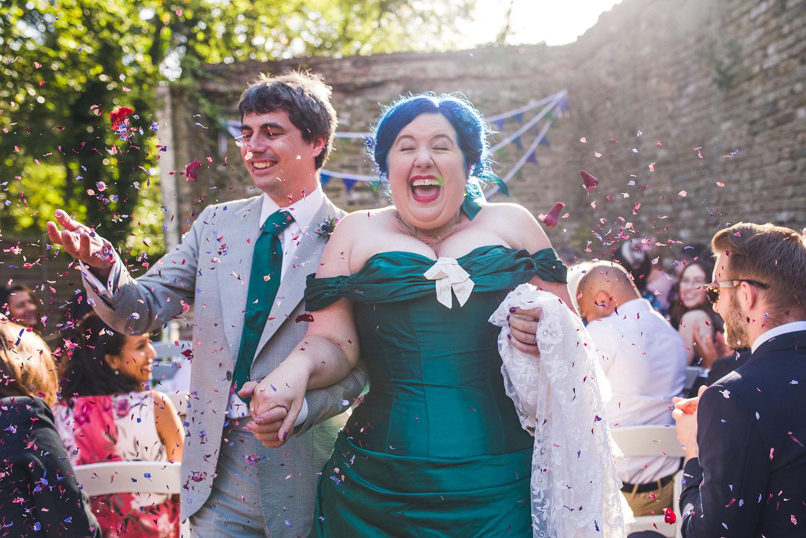 wedding confetti photo - fun wedding - green wedding dress - unique wedding dress