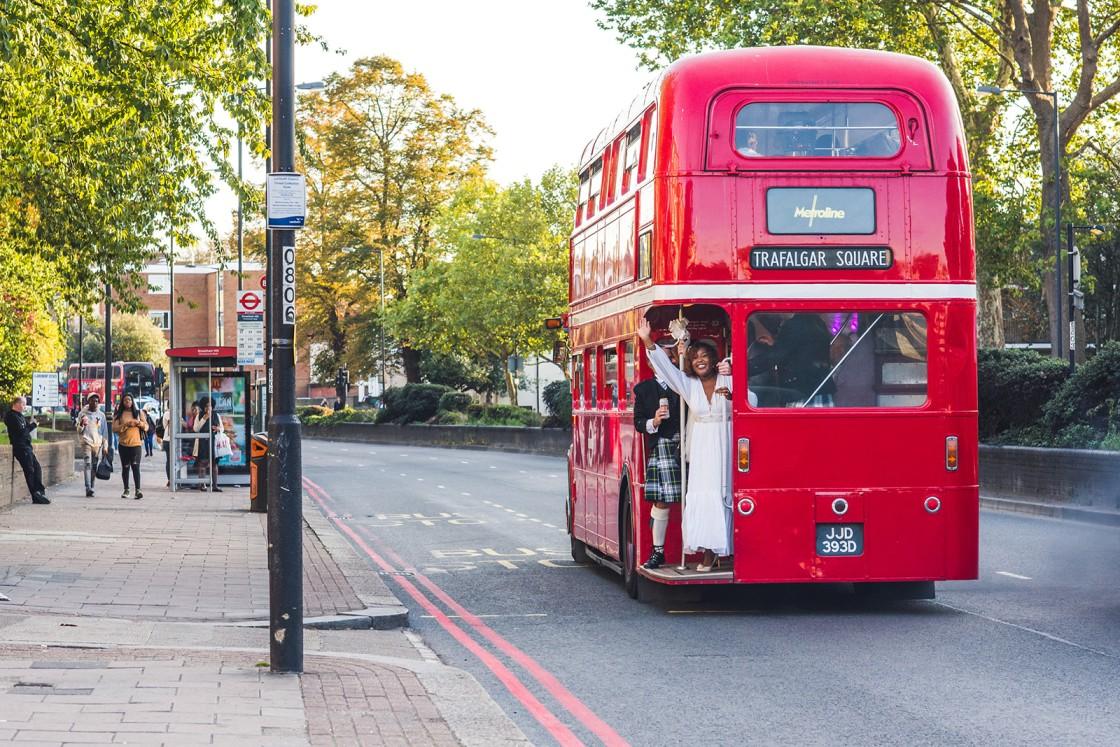 london bus wedding transport - london wedding - quirky wedding ideas - unconventional wedding