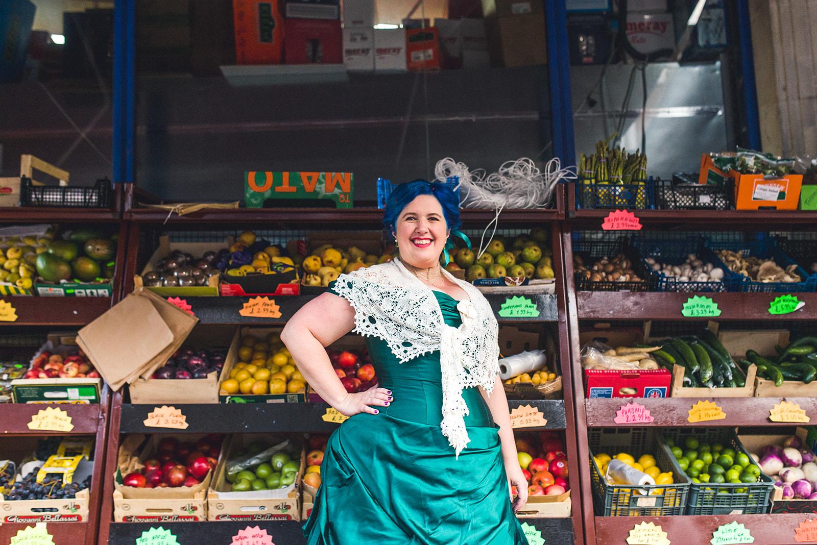 bride in london market - alternative bridal wear - bespoke wedding dress - victorian wedding dress