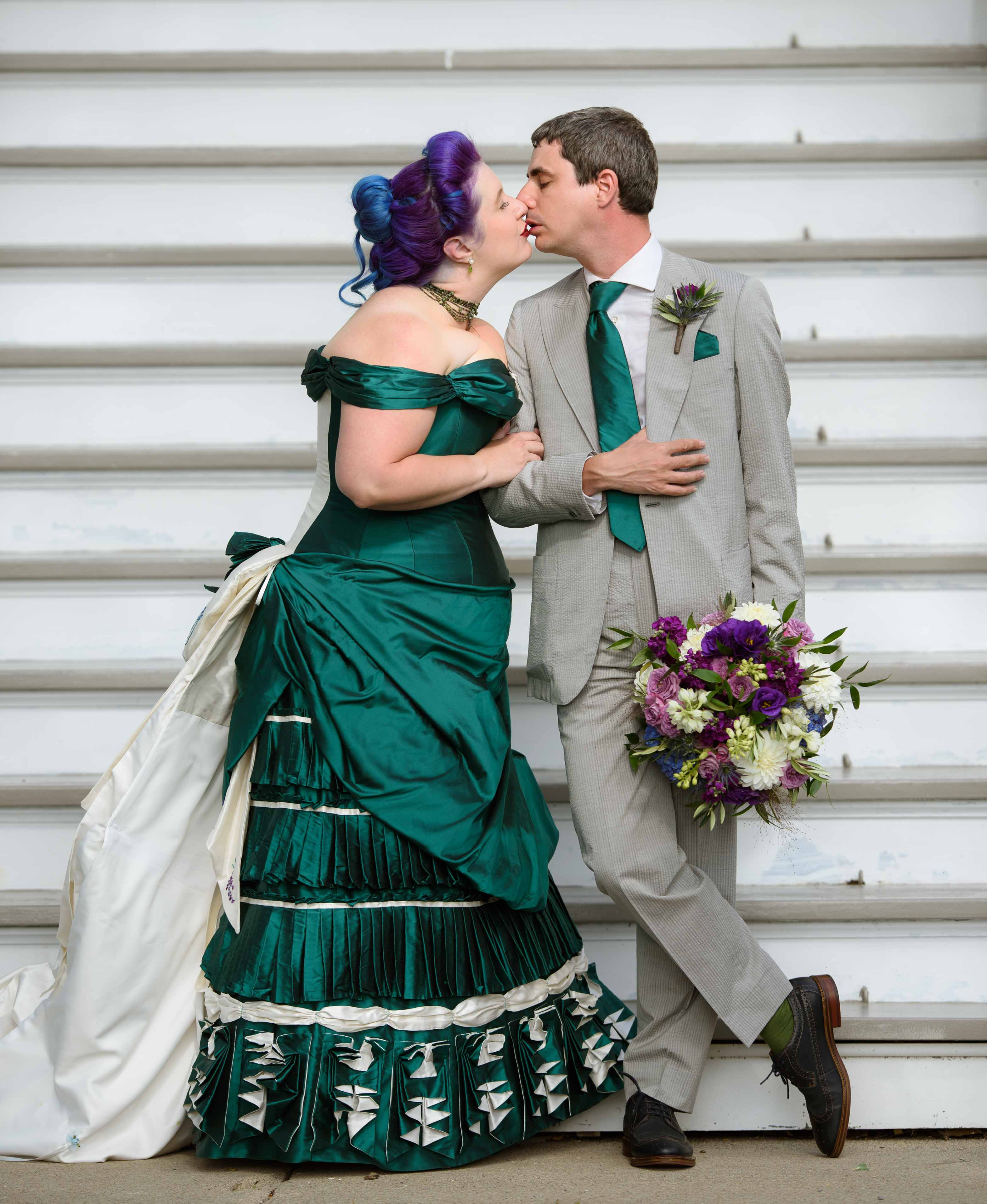 alternative wedding wear - bespoke victorian wedding dress - green wedding dress