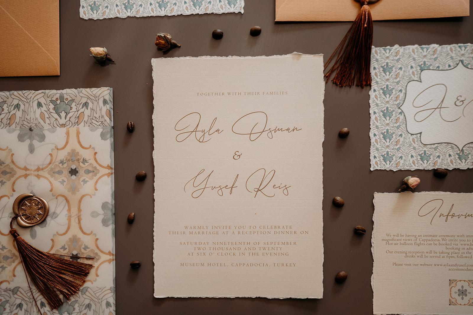 luxury wedding invitations - unique wedding stationery - orange and teal wedding stationery