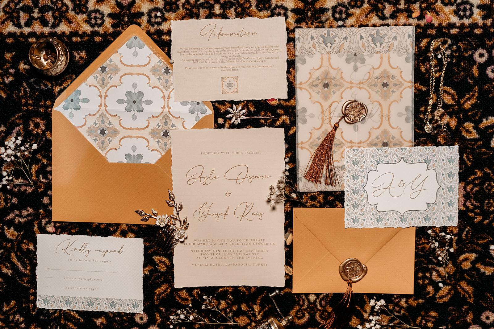 Turkish inspired wedding stationery - unique wedding stationery - orange and teal wedding stationery