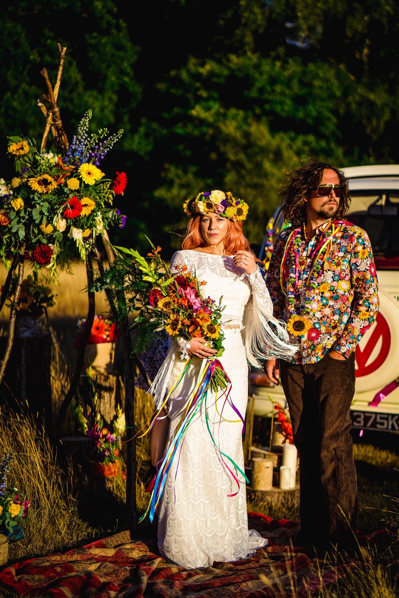 bohemian wedding styling - colourful bohemian wedding - 70s wedding - campervan wedding - hippie wedding - retro wedding