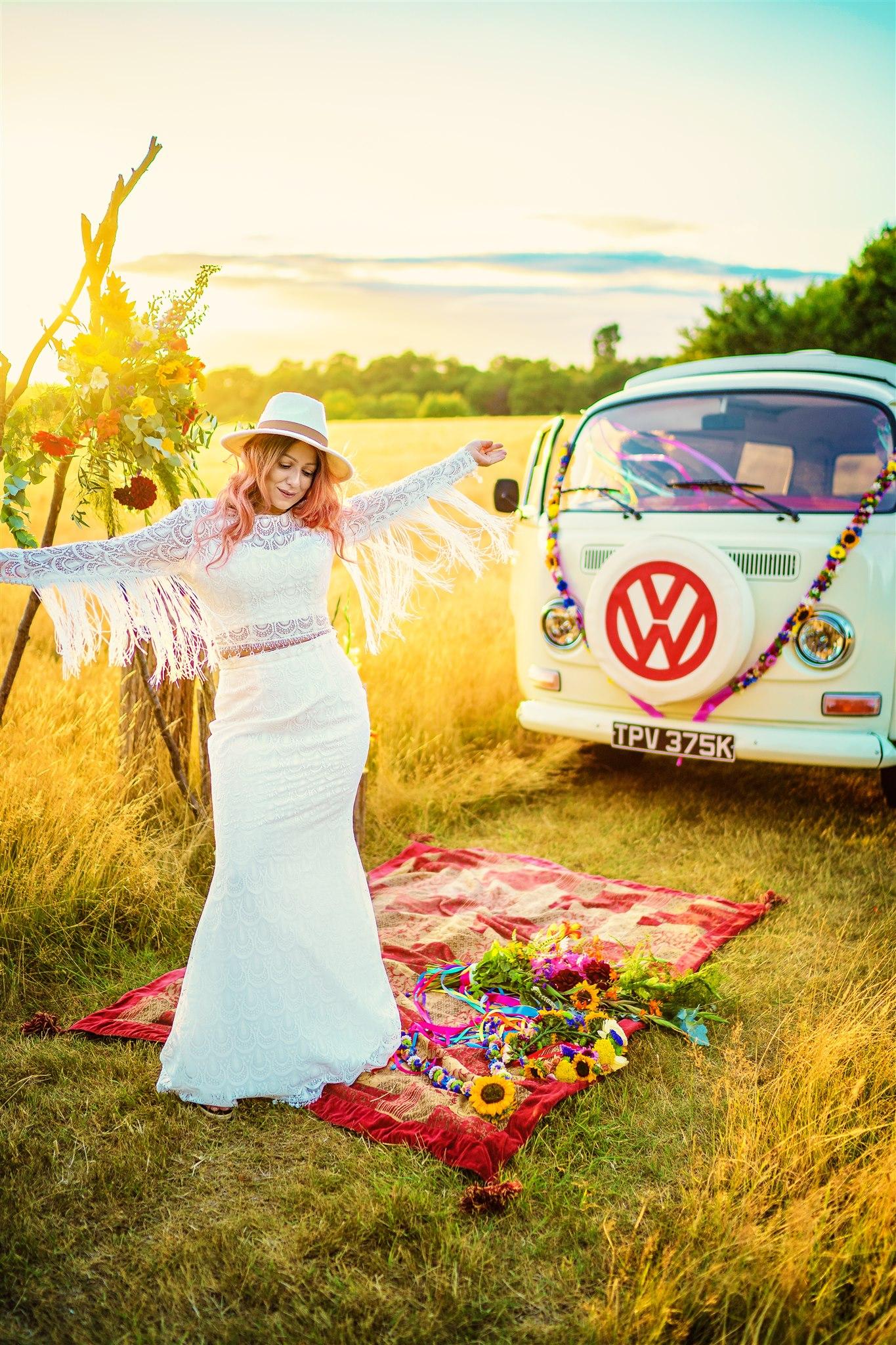 70s wedding dress with tassels - unique bridal wear - colourful bohemian wedding - 70s wedding - campervan wedding - hippie wedding