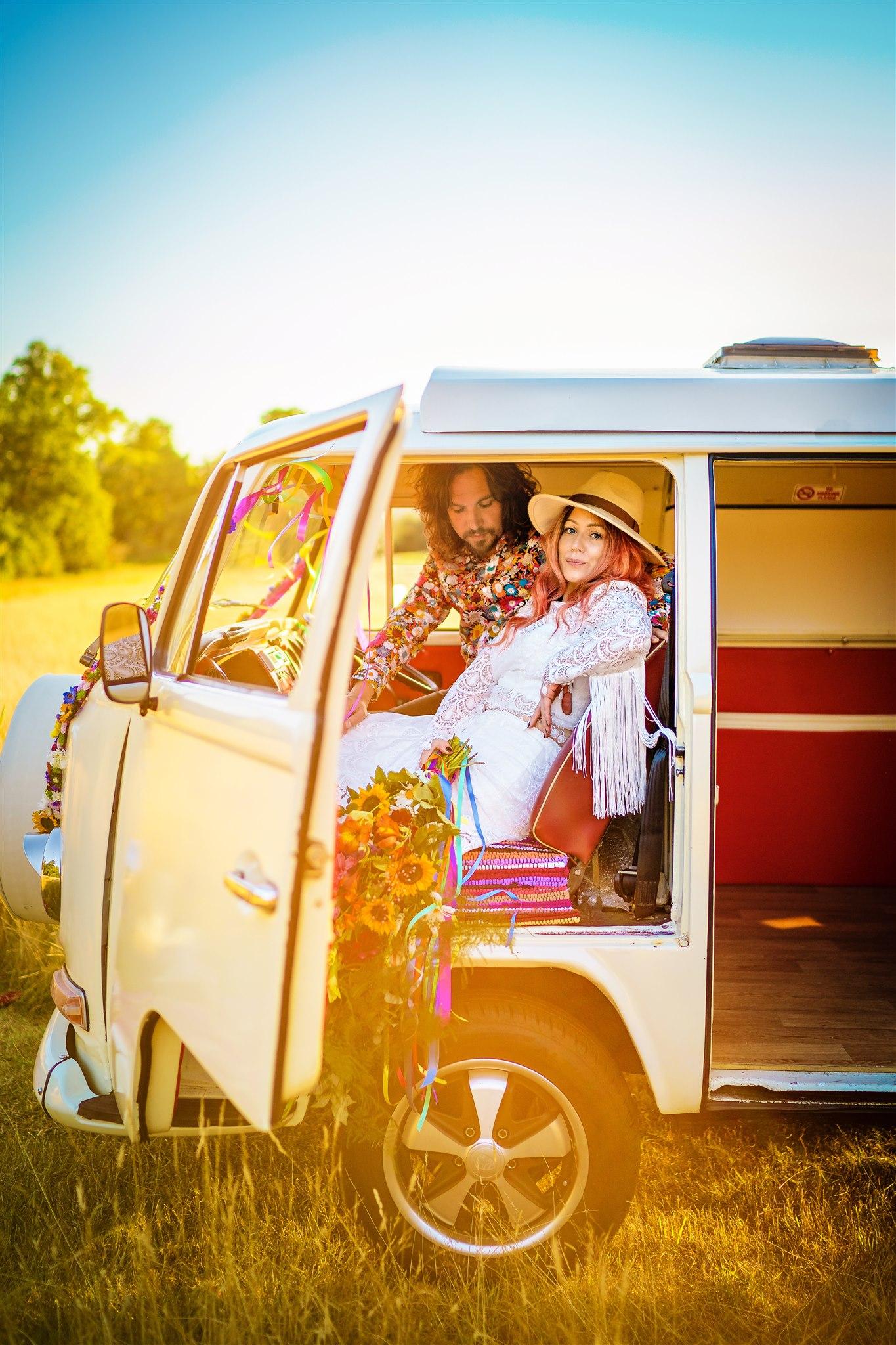 colourful bohemian wedding - 70s wedding - campervan wedding - hippie wedding - wedding campervan - bride and groom in campervan