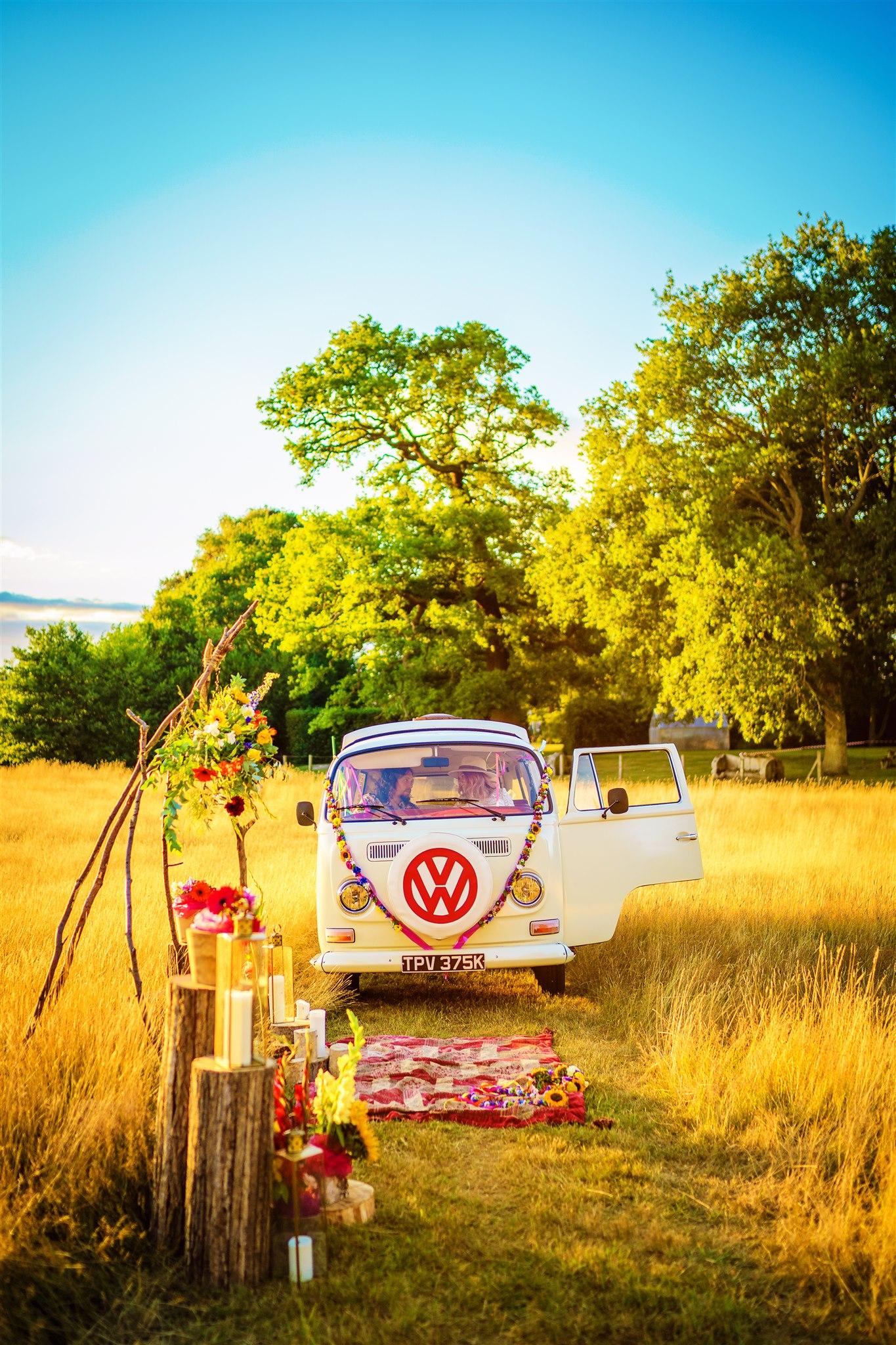 colourful bohemian wedding - 70s wedding - campervan wedding - hippie wedding - unique wedding transport - wedding camper van photobooth