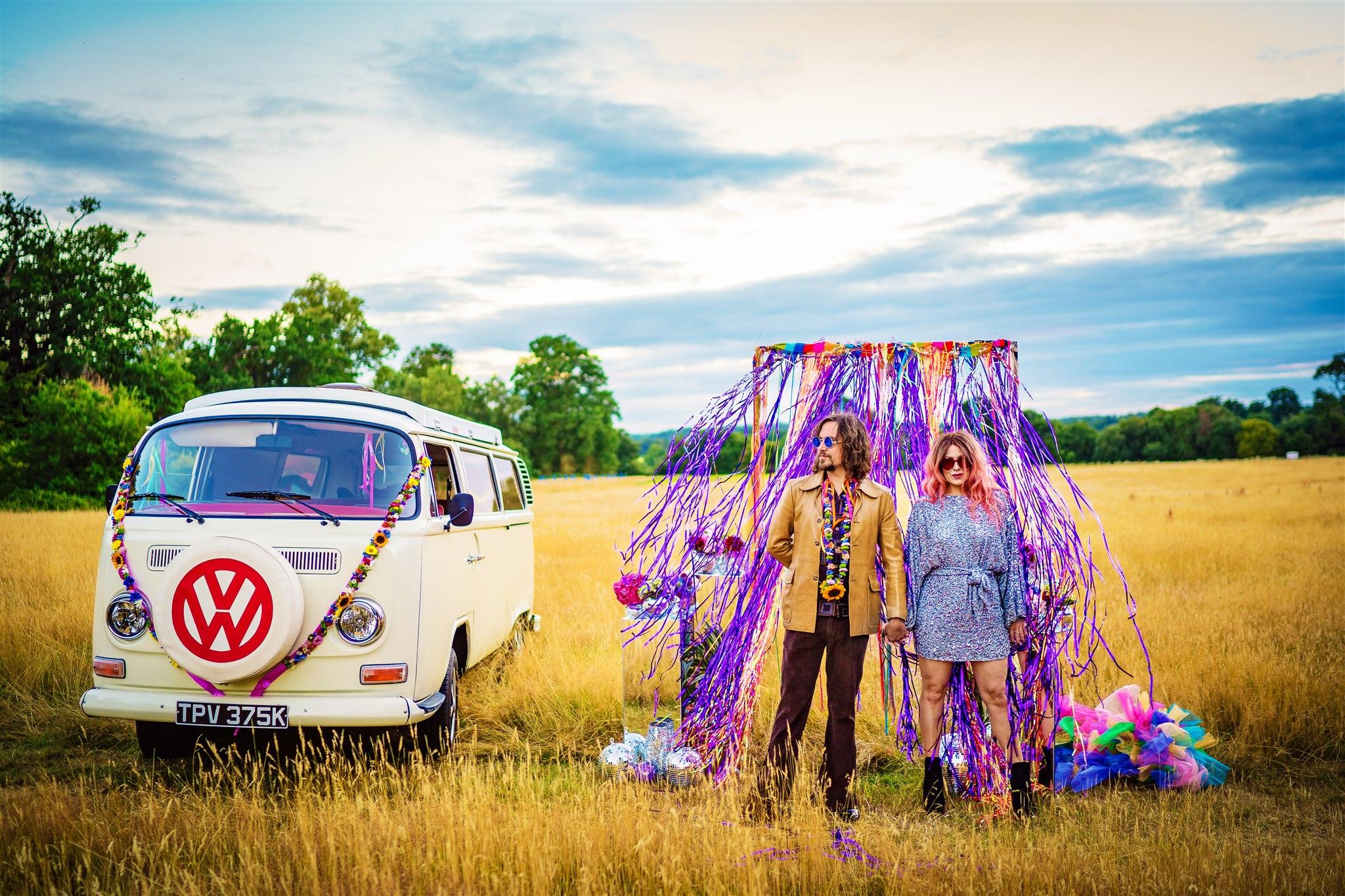 colourful bohemian wedding - 70s wedding - campervan wedding - hippie wedding - alternative wedding