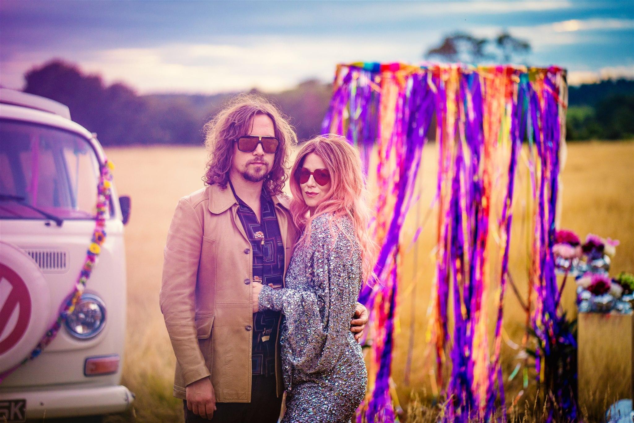 retro wedding - colourful bohemian wedding - 70s wedding - campervan wedding - hippie wedding