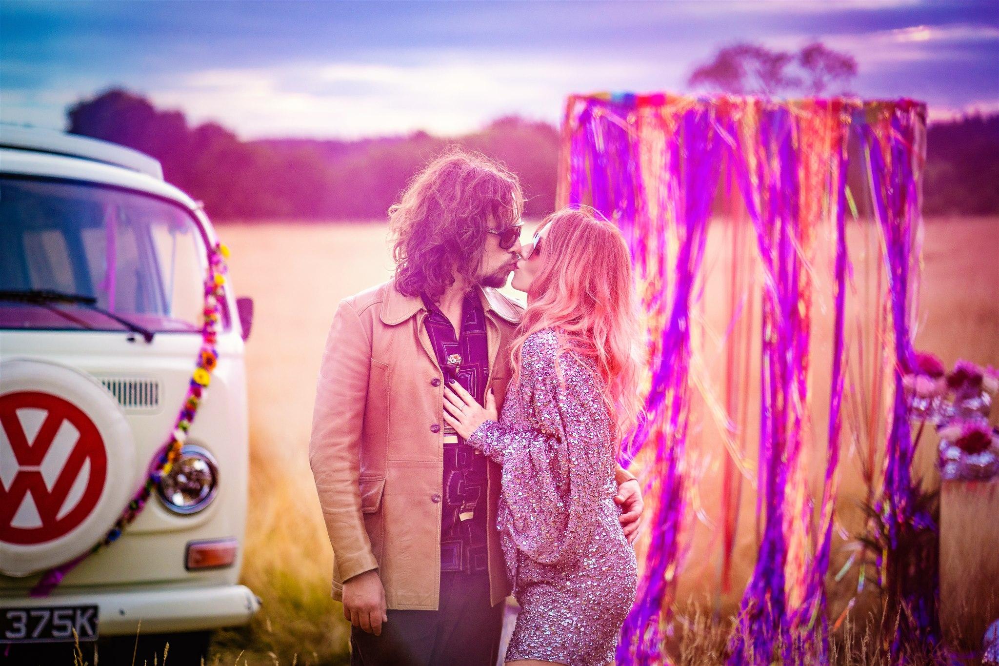 bohemian elopement - colourful bohemian wedding - 70s wedding - campervan wedding - hippie wedding - 70s wedding style