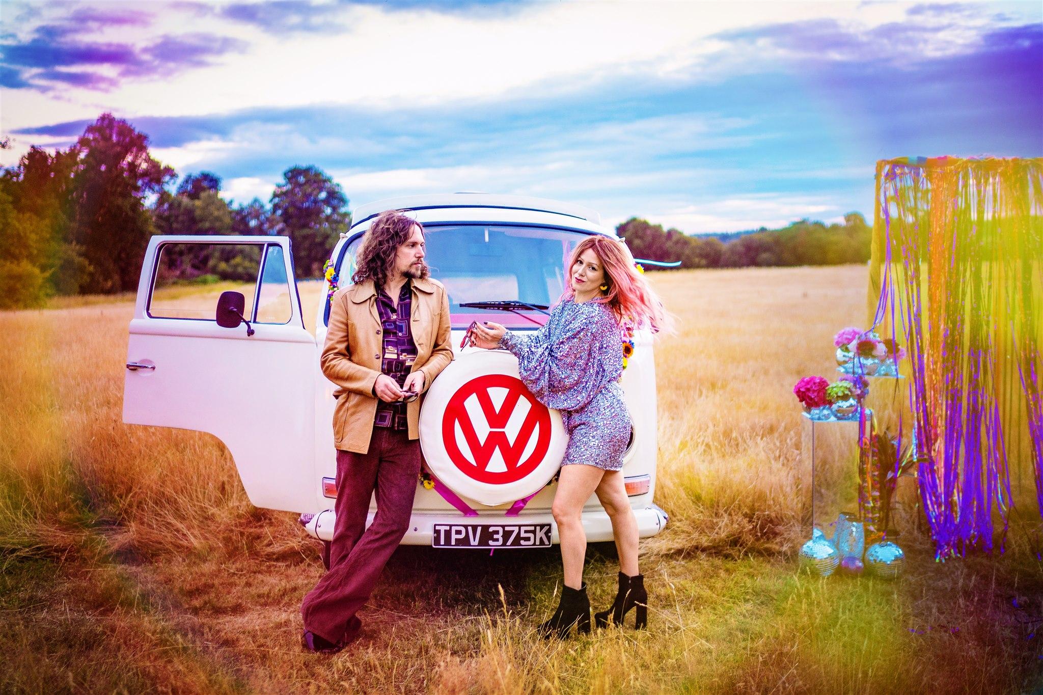 colourful bohemian wedding - 70s wedding - campervan wedding - hippie wedding - fun elopement