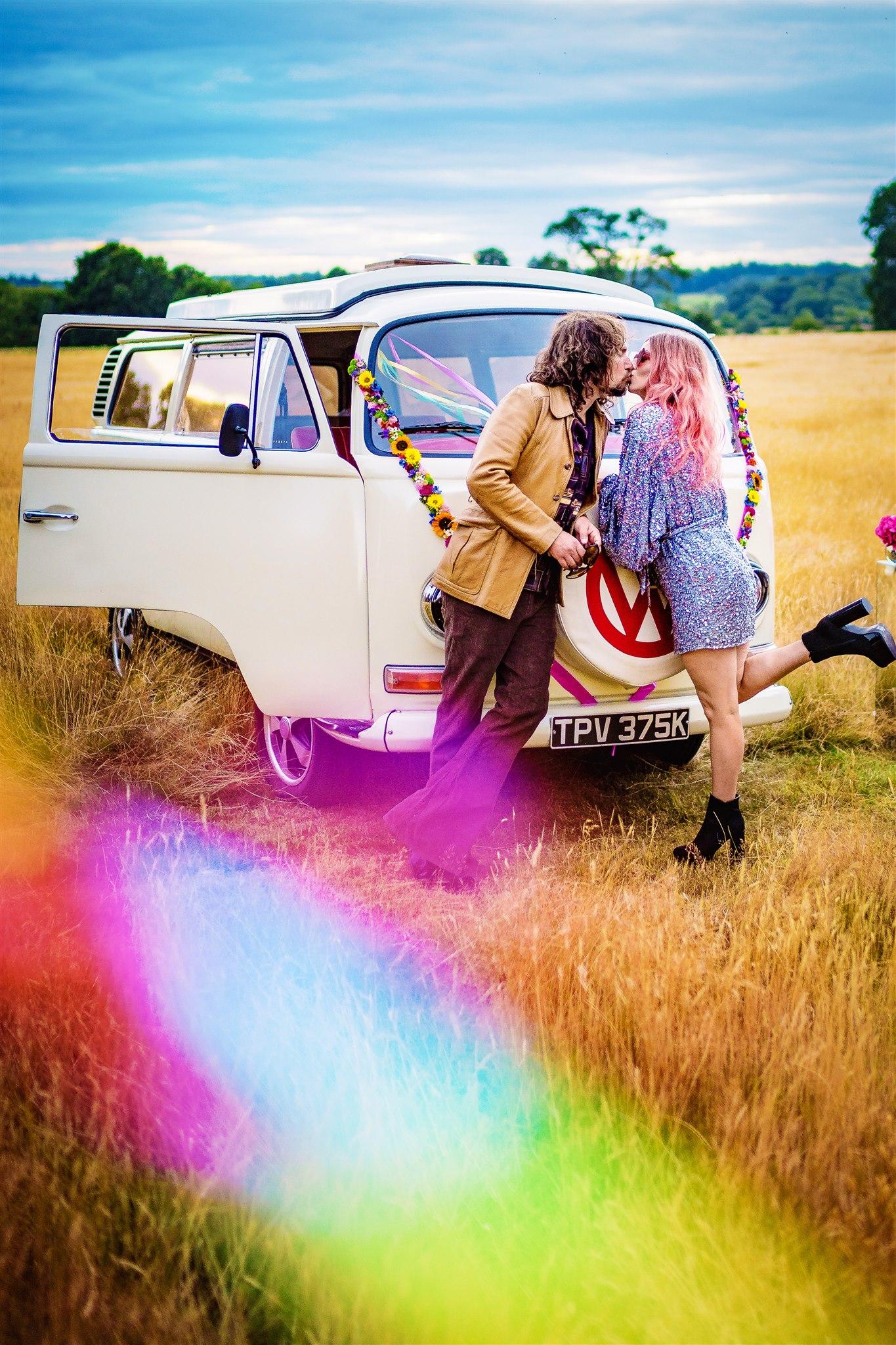 colourful bohemian wedding - 70s wedding - campervan wedding - hippie wedding