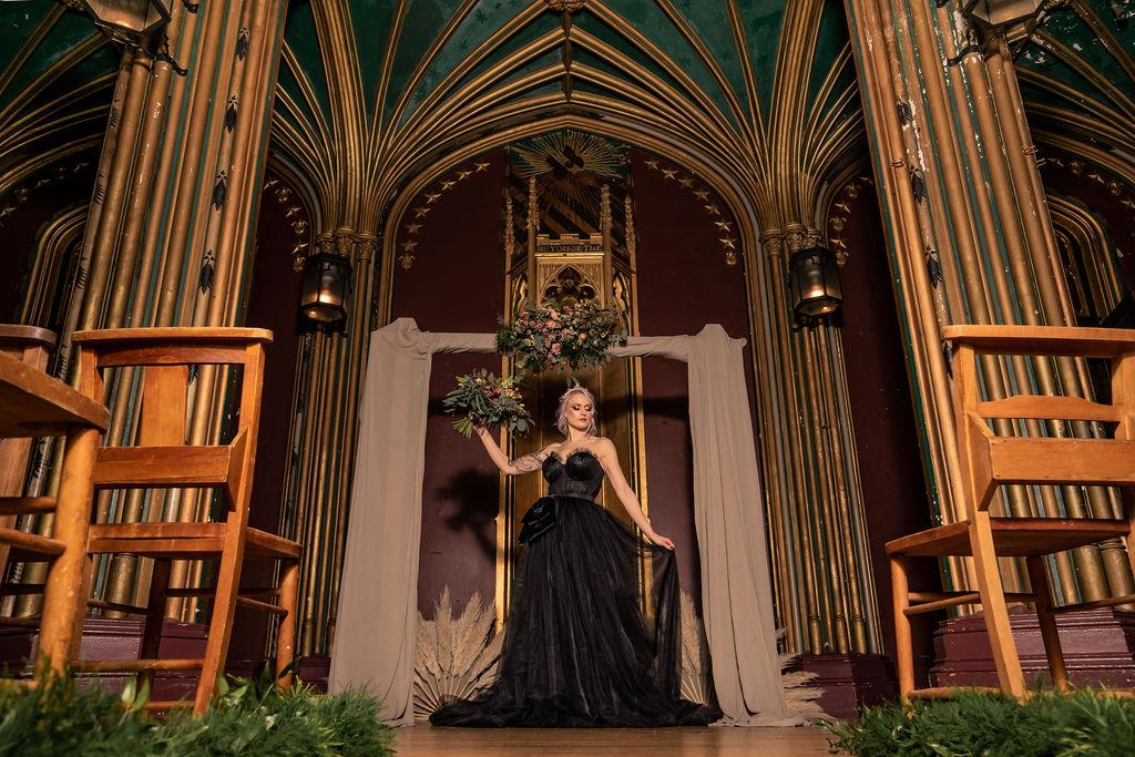 gothic wedding - black wedding dress - castle wedding venue - alternative wedding inspiration