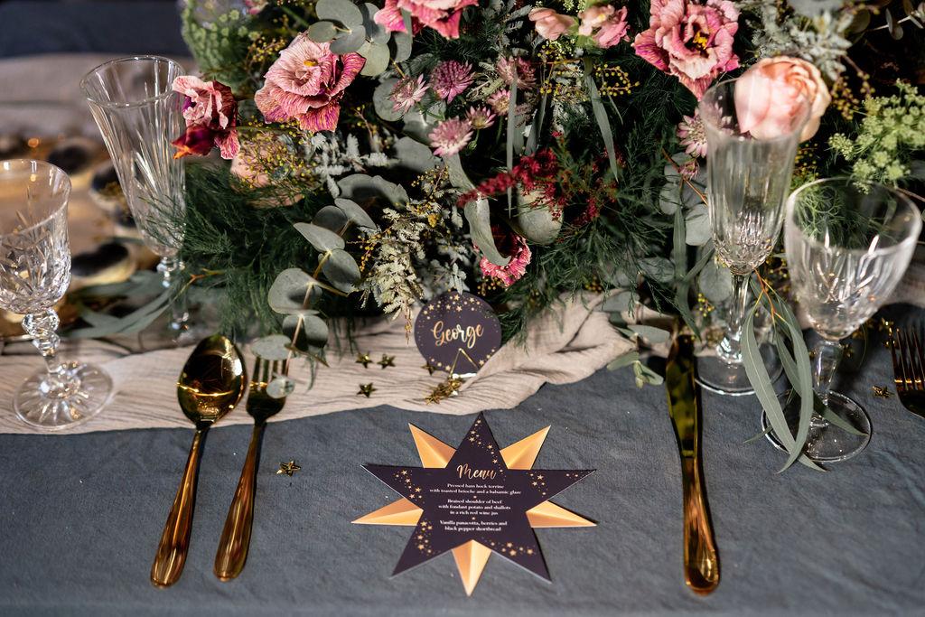 celestial wedding stationery - gothic wedding stationery - black and gold wedding stationery