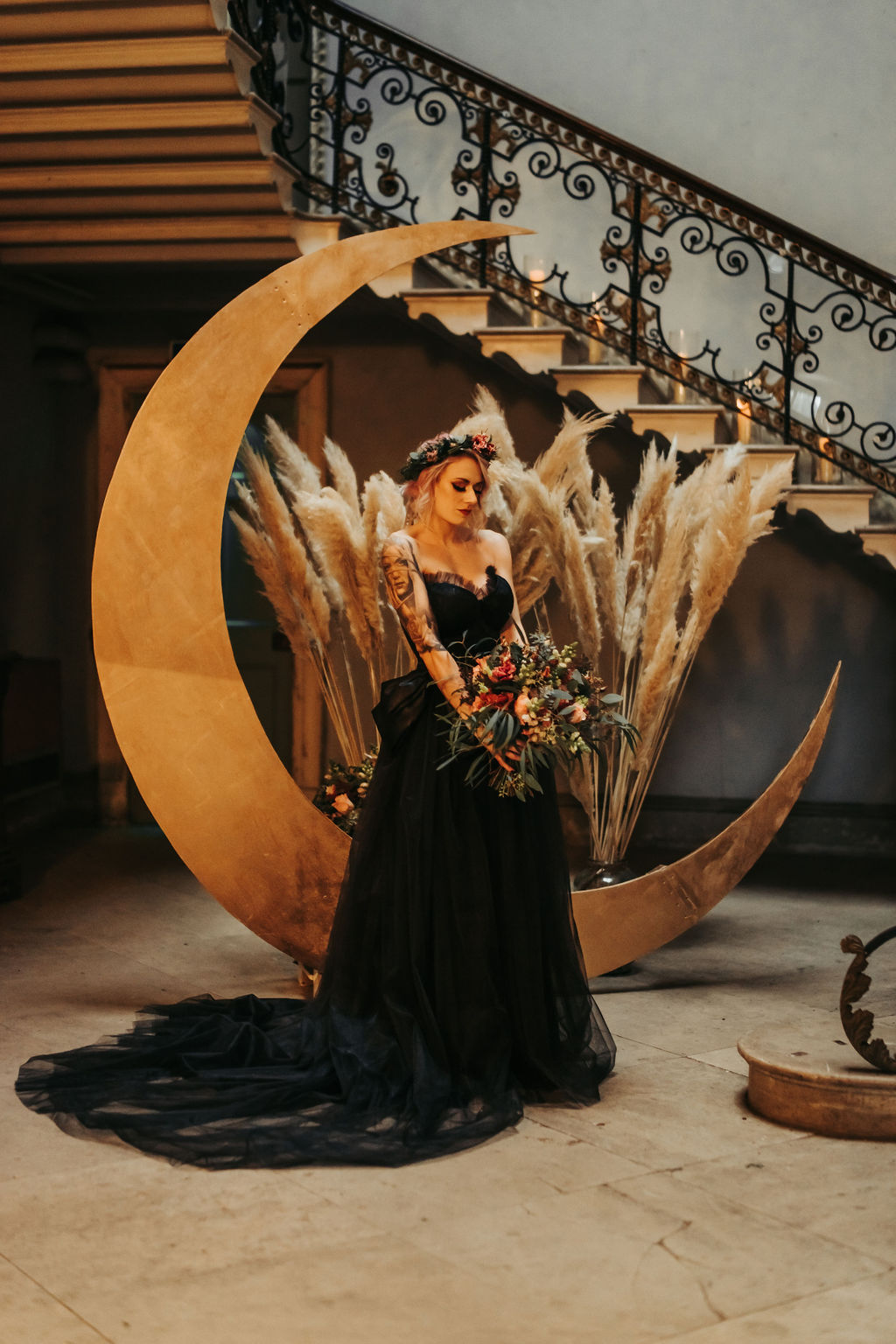 celestial gothic wedding - moon wedding prop - black wedding dress - wedding pampas grass - alternative wedding inspiration