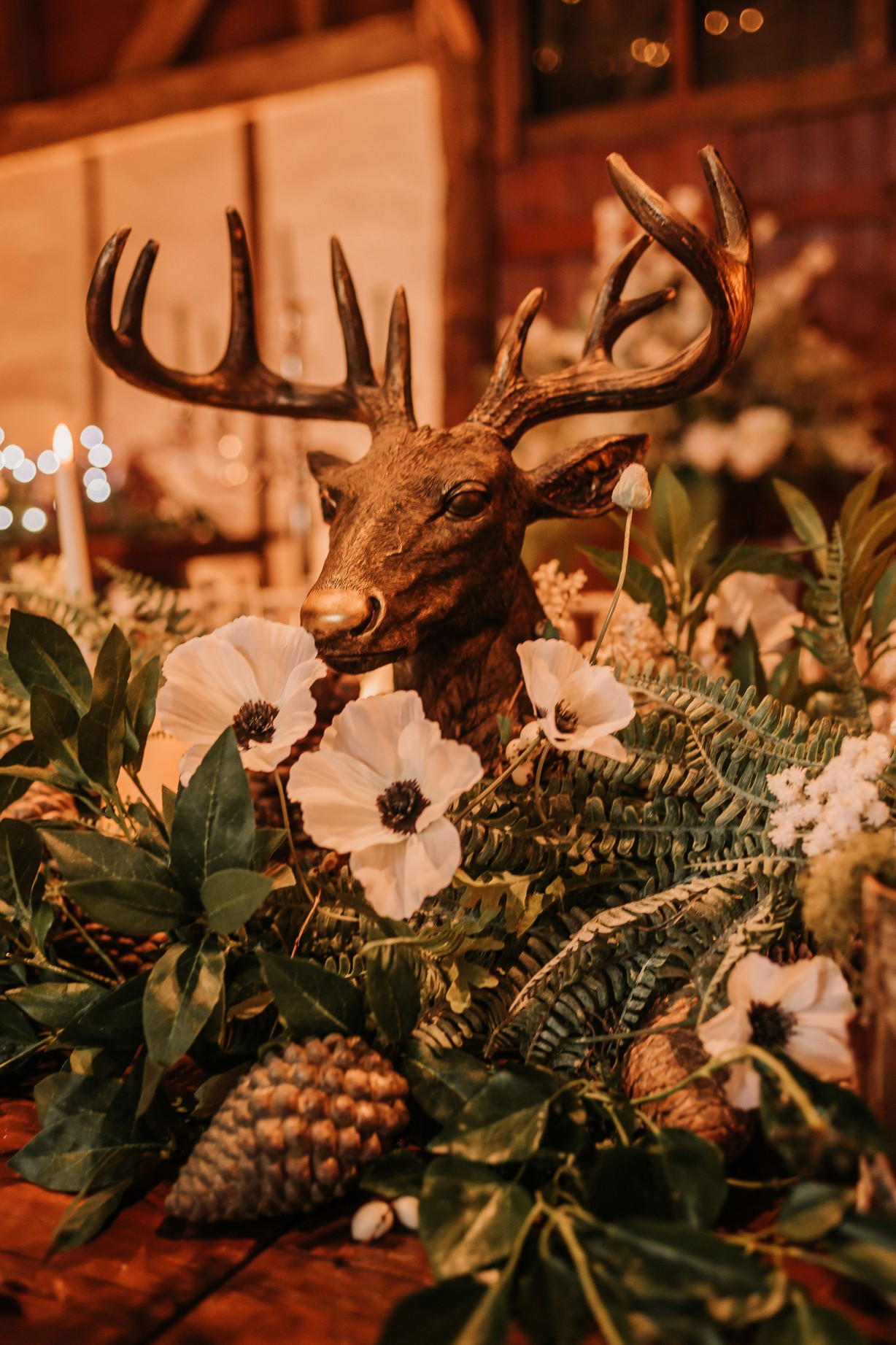 winter wedding decor - reindeer wedding decoration