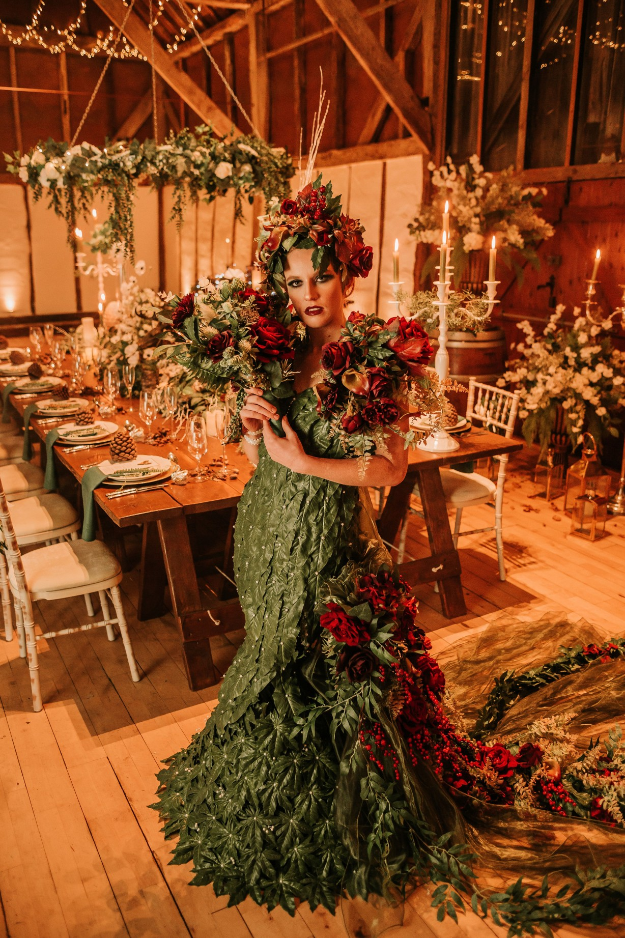 enchanting winter wedding - unique bridal style - artistic bridal dress - unconventional wedding