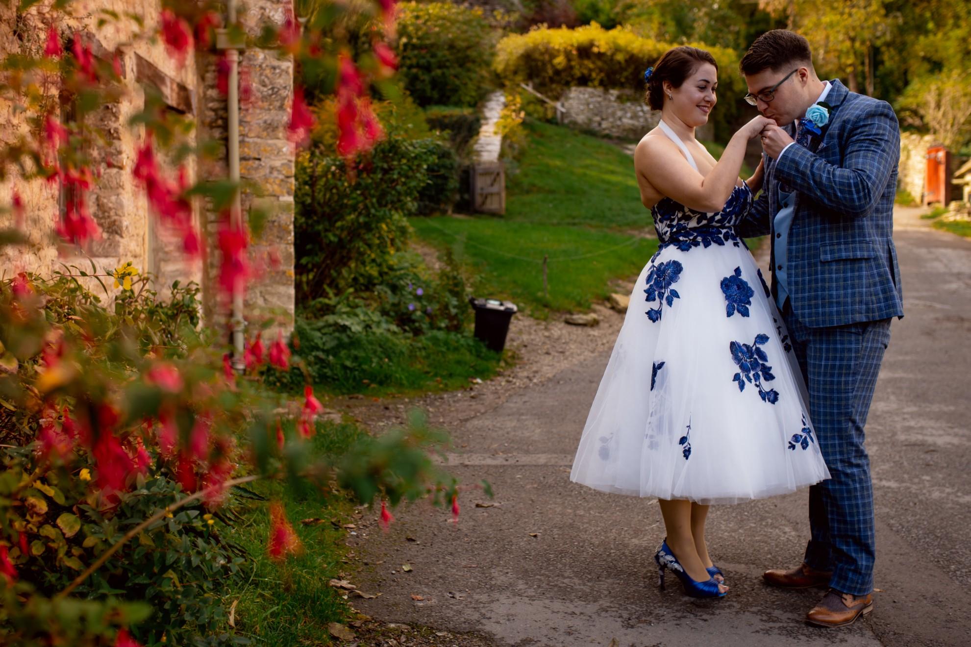 tea length wedding dress with blue flowers - unique bridal wear - vintage bridal look