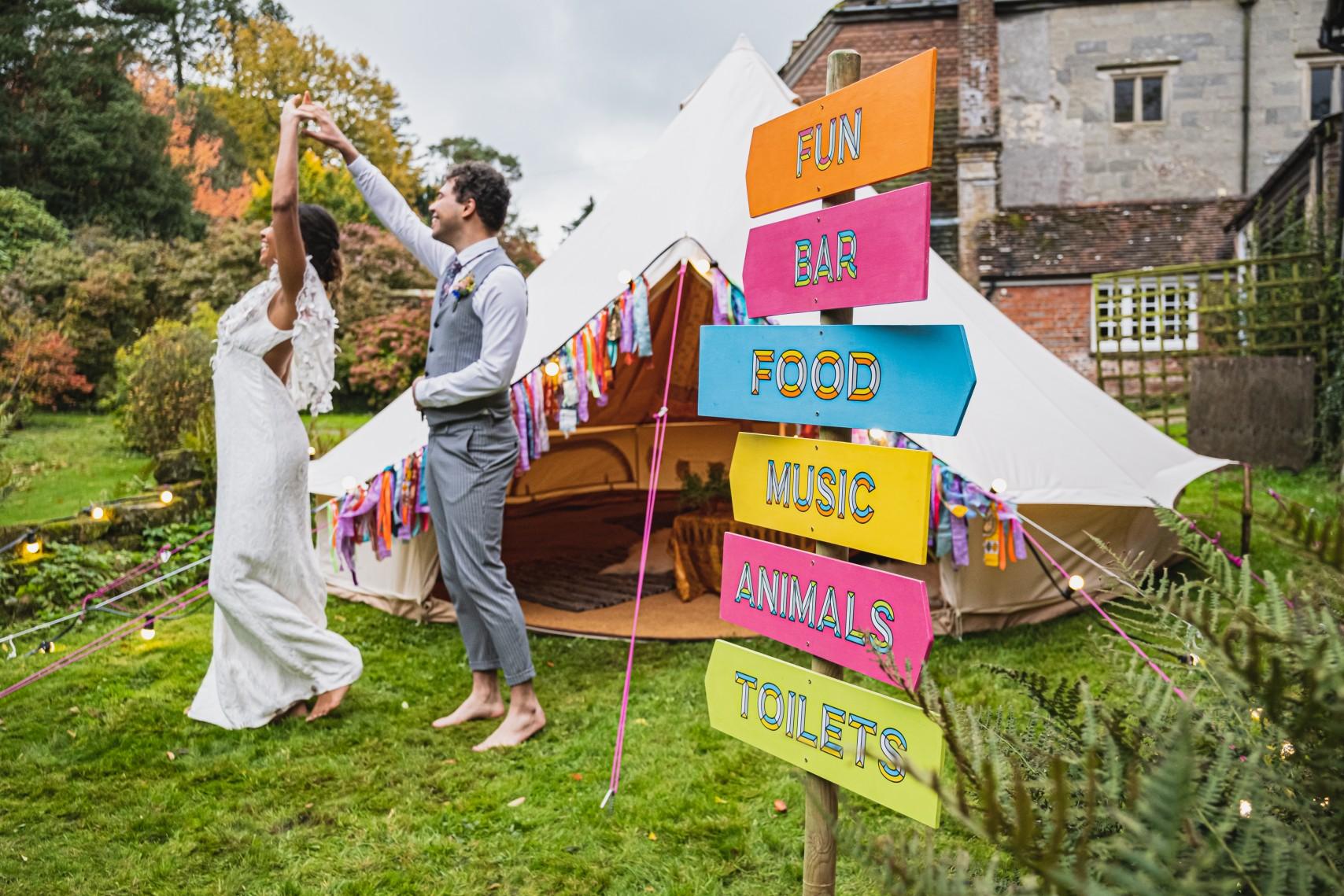colourful micro wedding at patricks barn - bride and groom dancing - festival wedding - colourful wedding - bell tent wedding