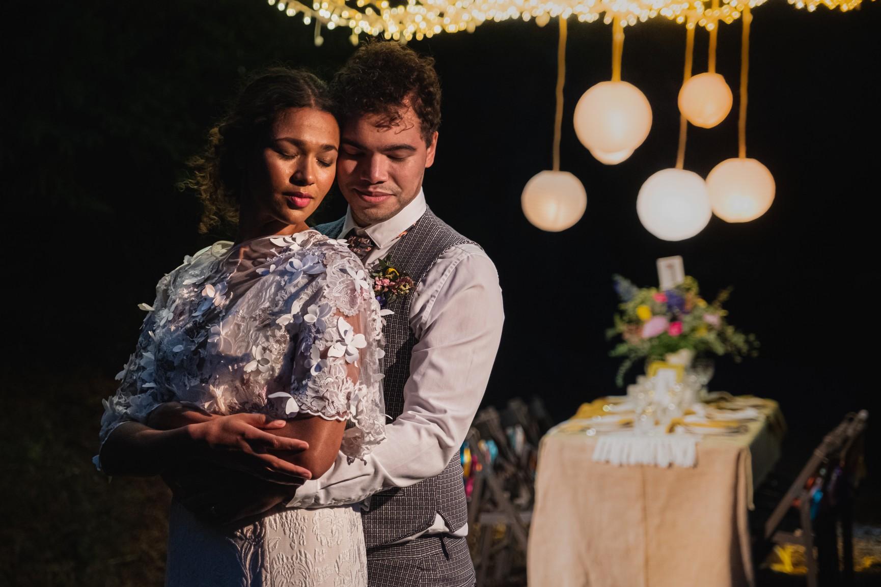 colourful micro wedding at patricks barn - boho wedding - unique wedding lighting - outdoor wedding